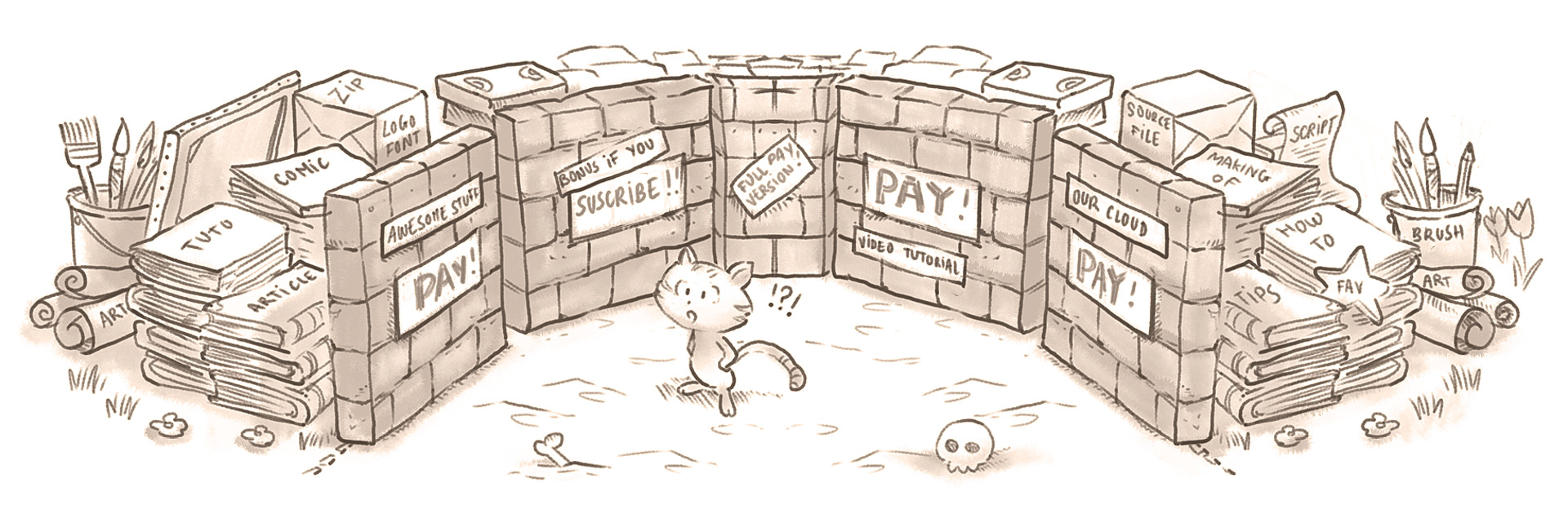 illustration representing paywall