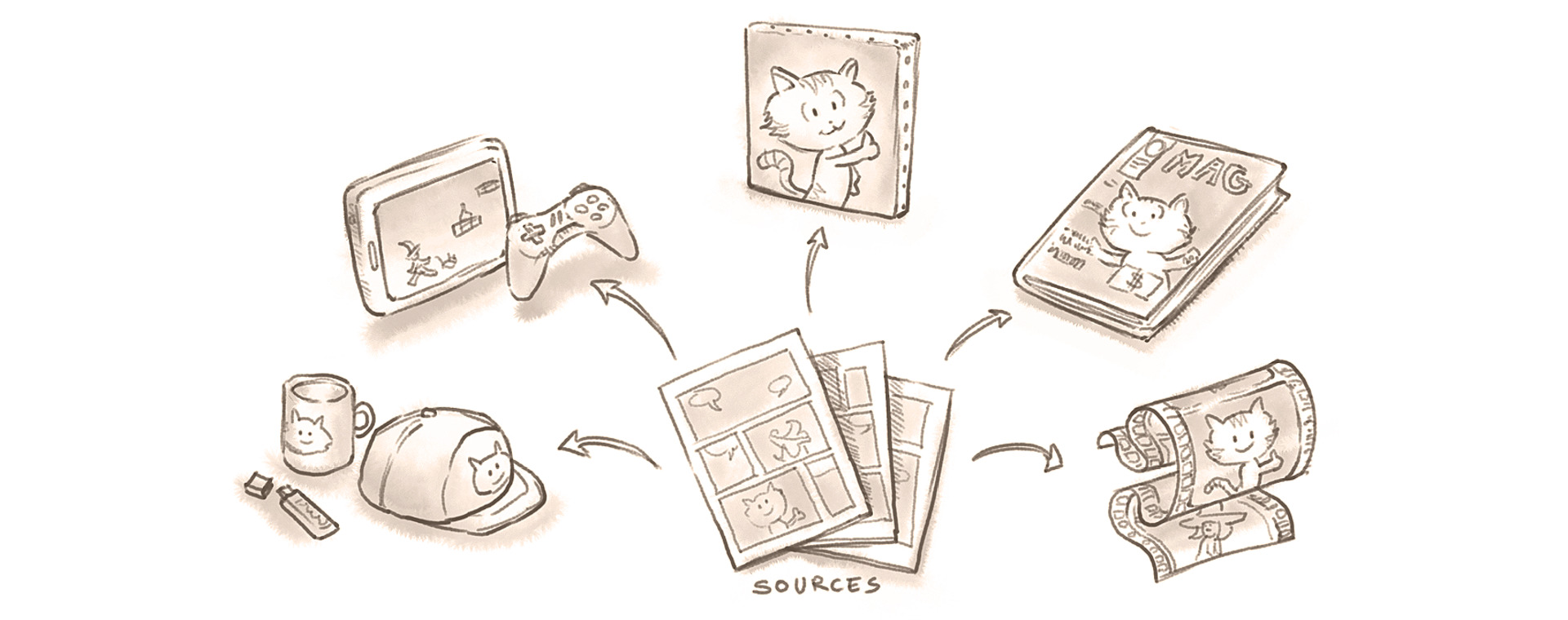 illustration representing open-source medias