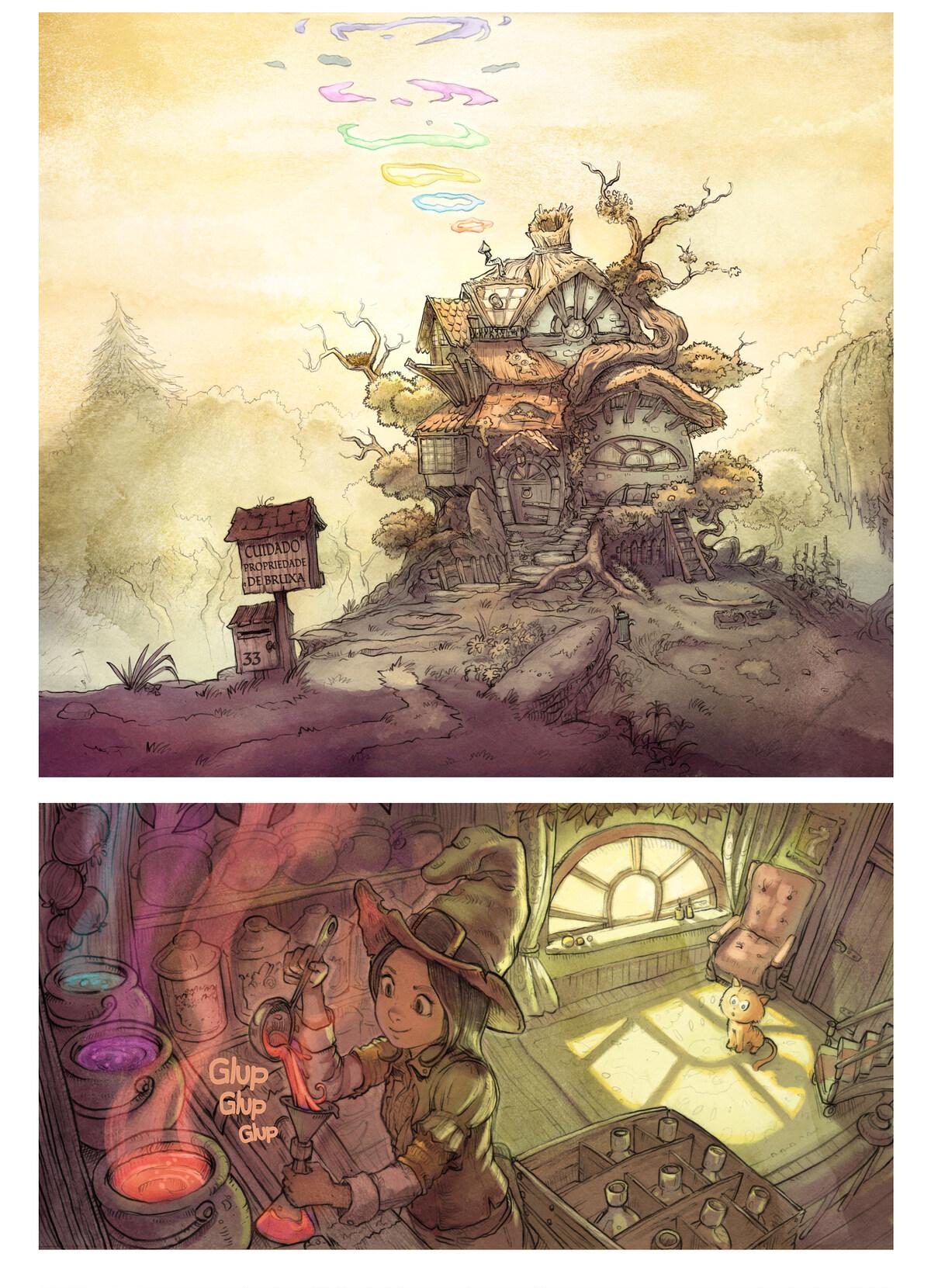 A webcomic page of Pepper&Carrot, episódio 2 [pt], página 1