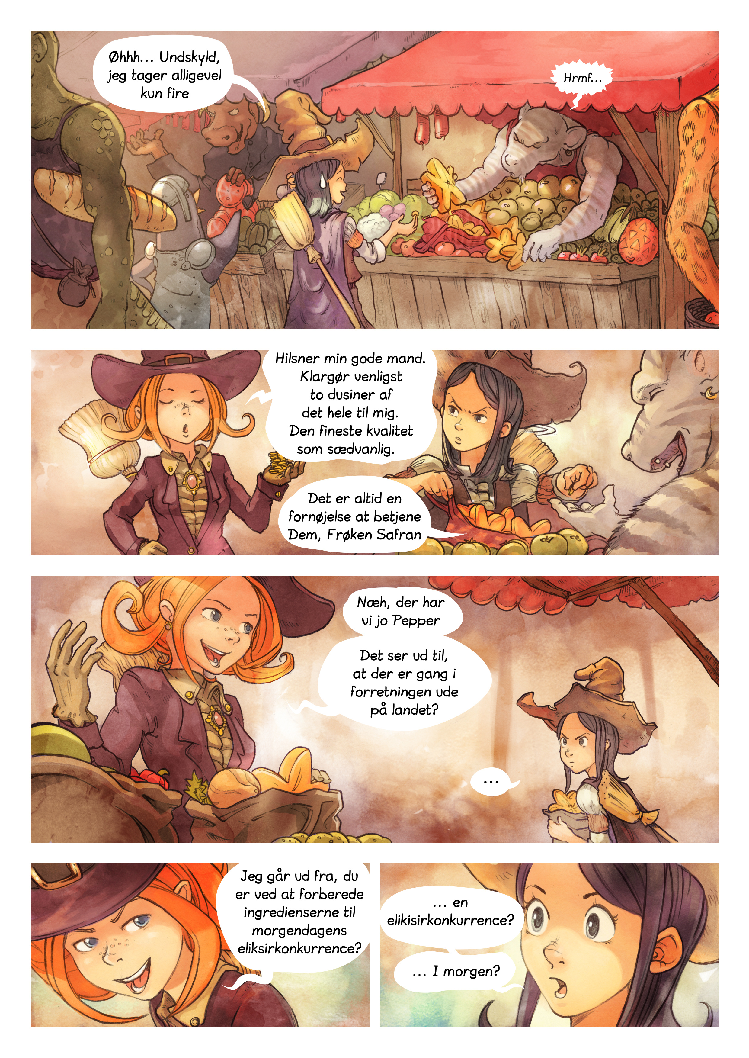 A webcomic page of Pepper&Carrot, episode 3 [da], page 2