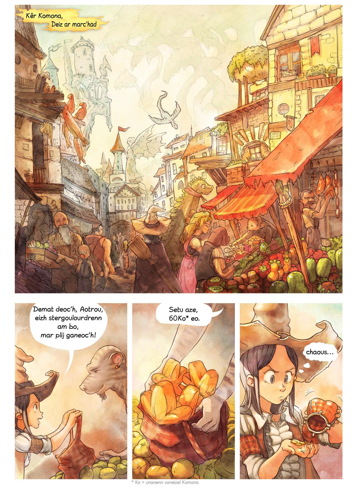 A webcomic page of Pepper&Carrot, rann 3 [br], pajenn 1