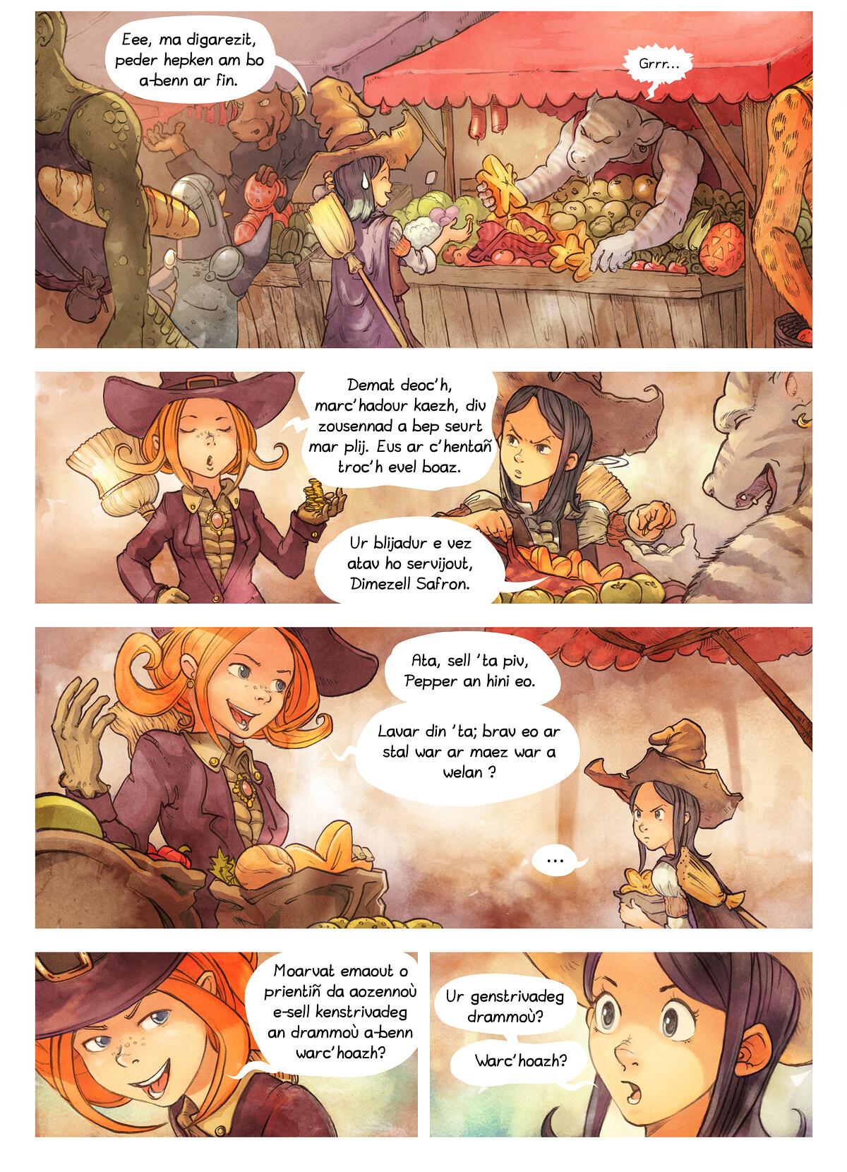 A webcomic page of Pepper&Carrot, rann 3 [br], pajenn 2