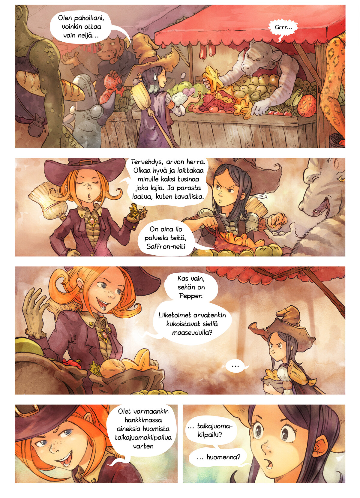 A webcomic page of Pepper&Carrot, episode 3 [fi], page 2