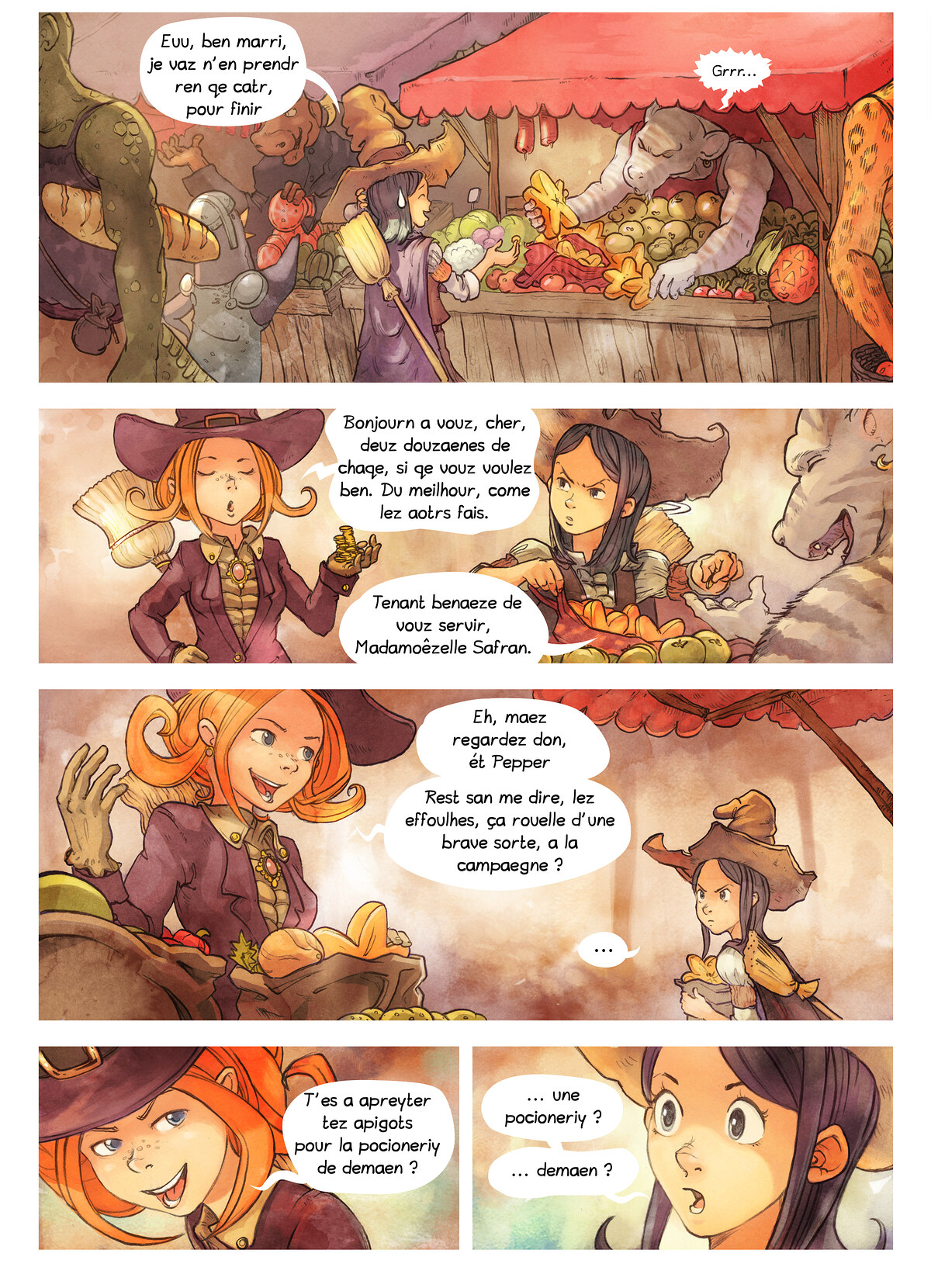 A webcomic page of Pepper&Carrot, episode 3 [go], page 2