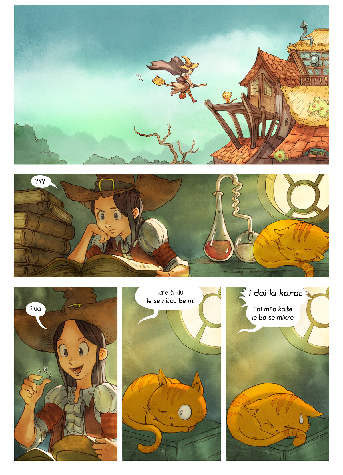 A webcomic page of Pepper&Carrot, pagbu 3 [jb], papri 4