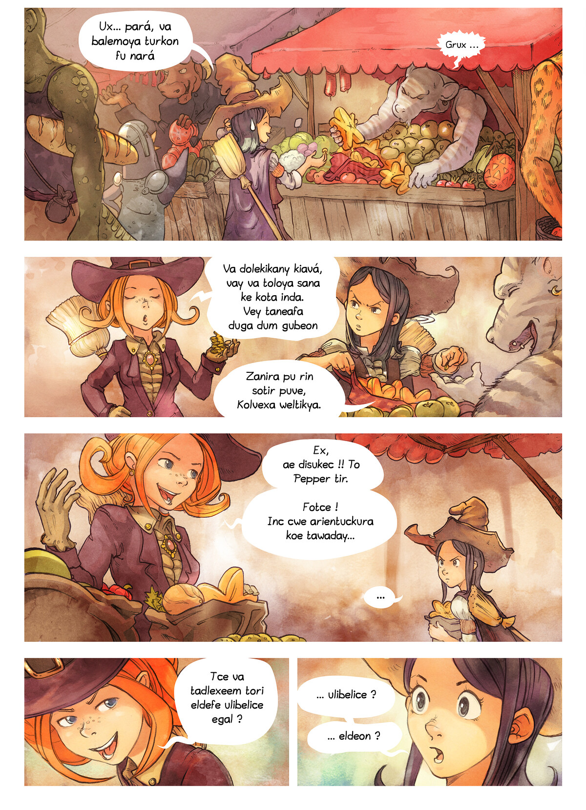 A webcomic page of Pepper&Carrot, episode 3 [kt], page 2