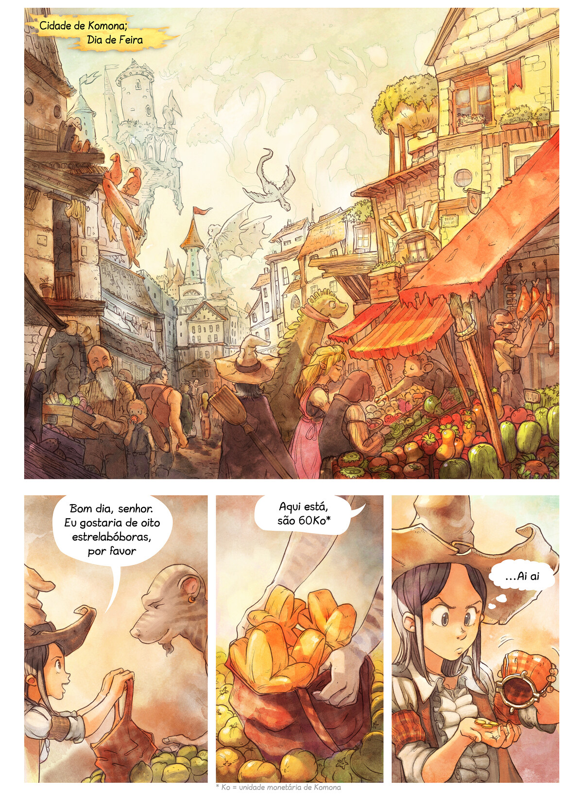 A webcomic page of Pepper&Carrot, episódio 3 [pt], página 1