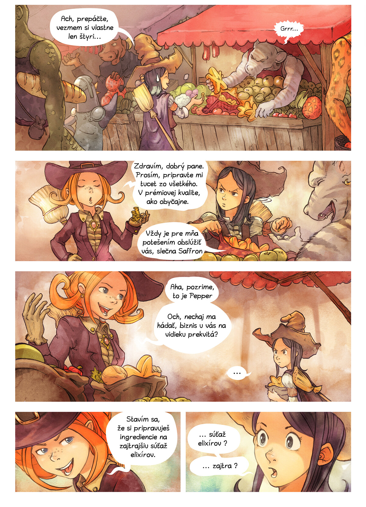A webcomic page of Pepper&Carrot, episode 3 [sk], page 2