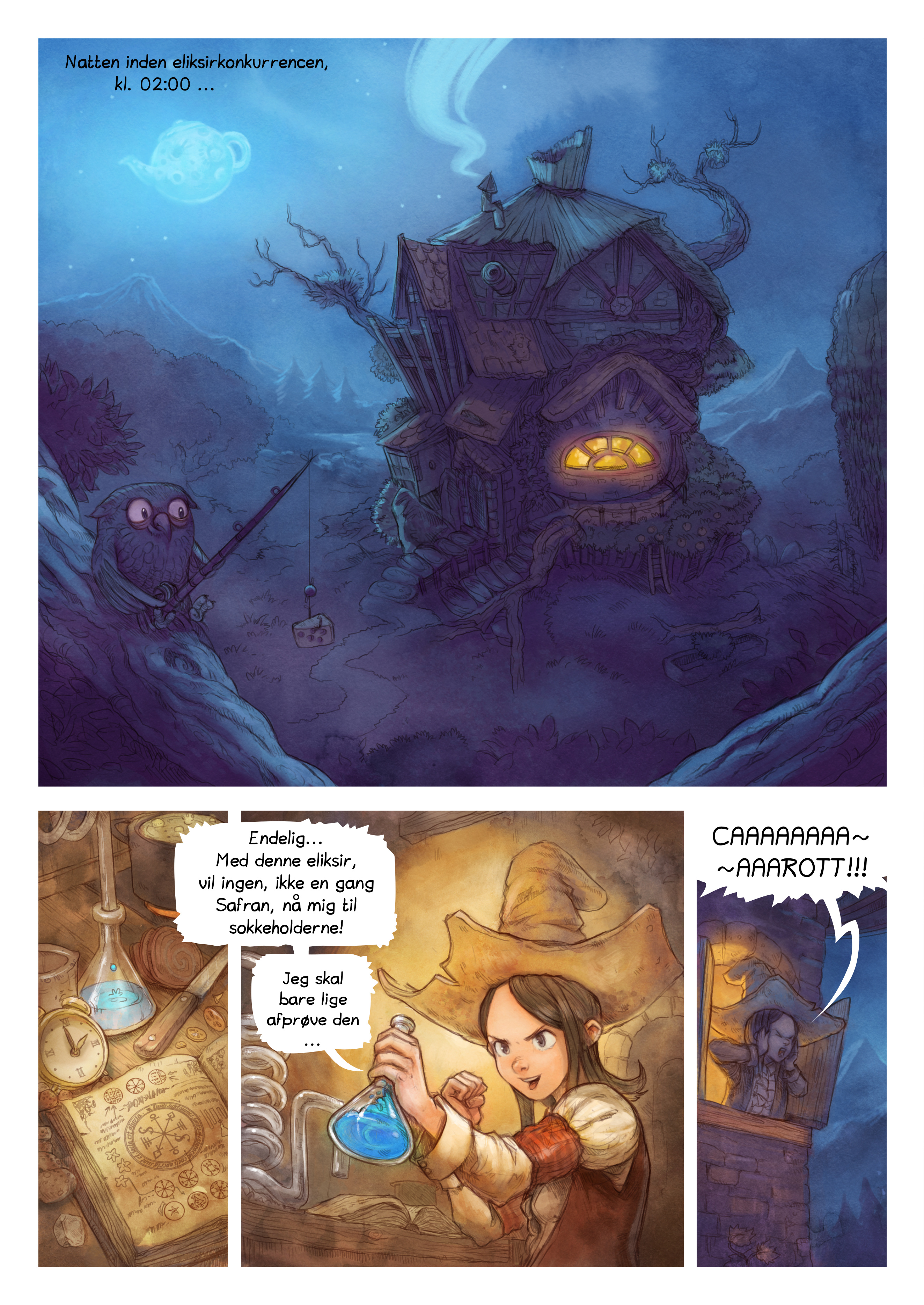 A webcomic page of Pepper&Carrot, episode 4 [da], page 1