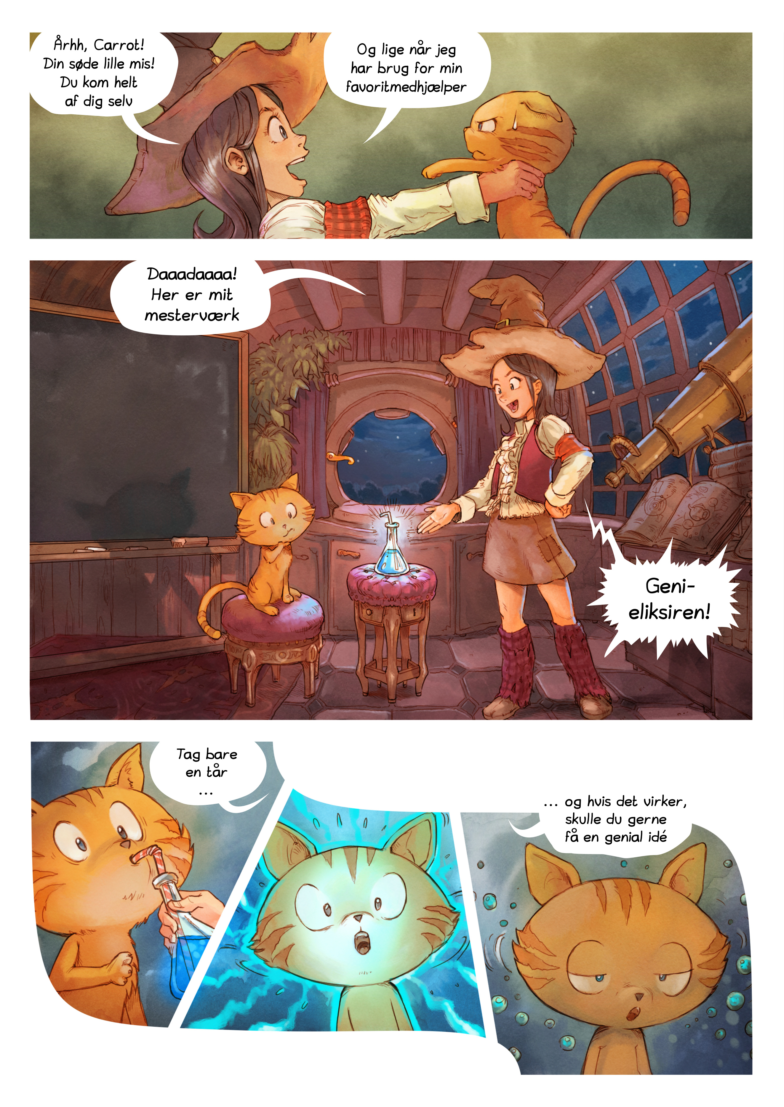 A webcomic page of Pepper&Carrot, episode 4 [da], page 3