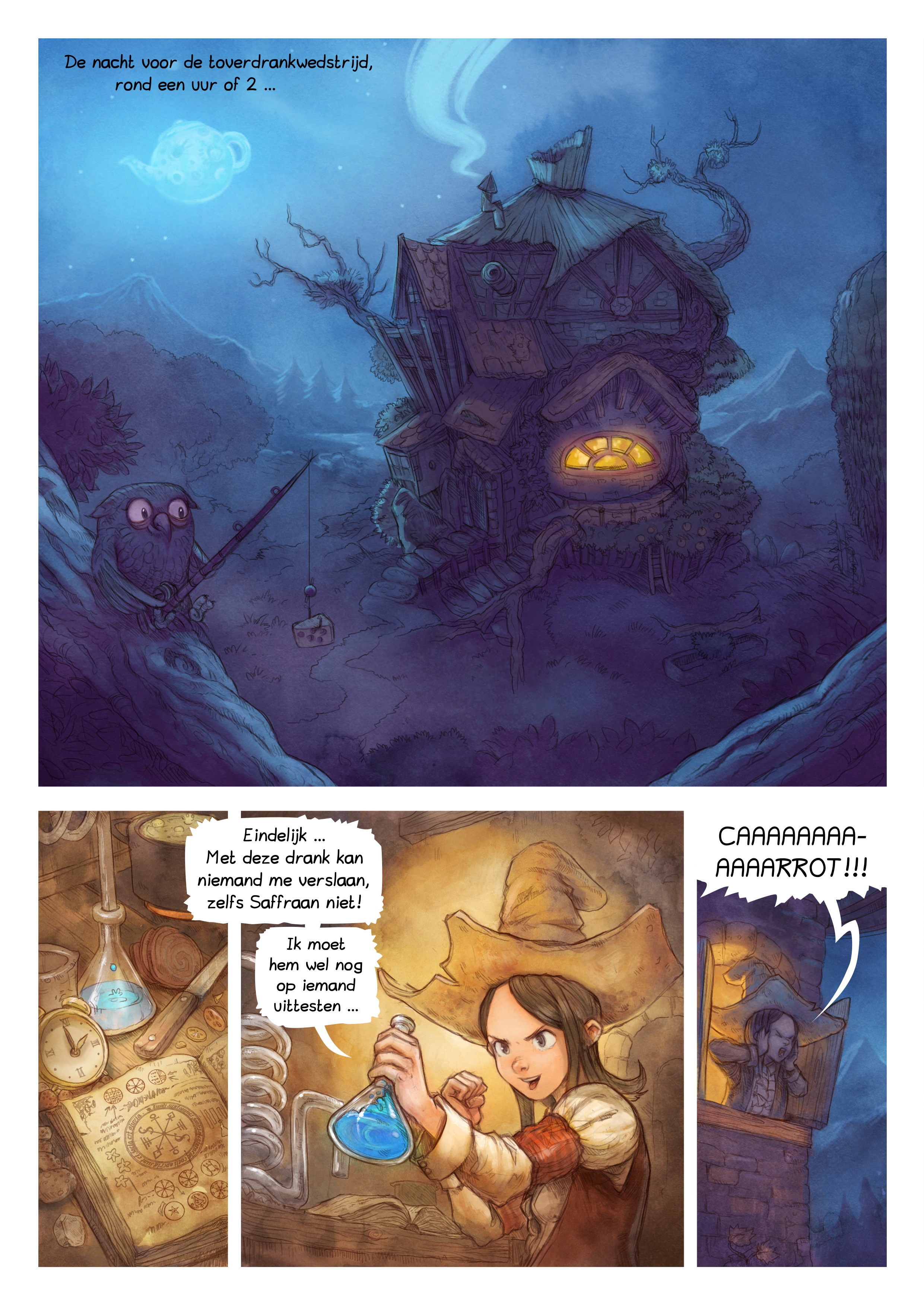 A webcomic page of Pepper&Carrot, aflevering 4 [nl], pagina 1