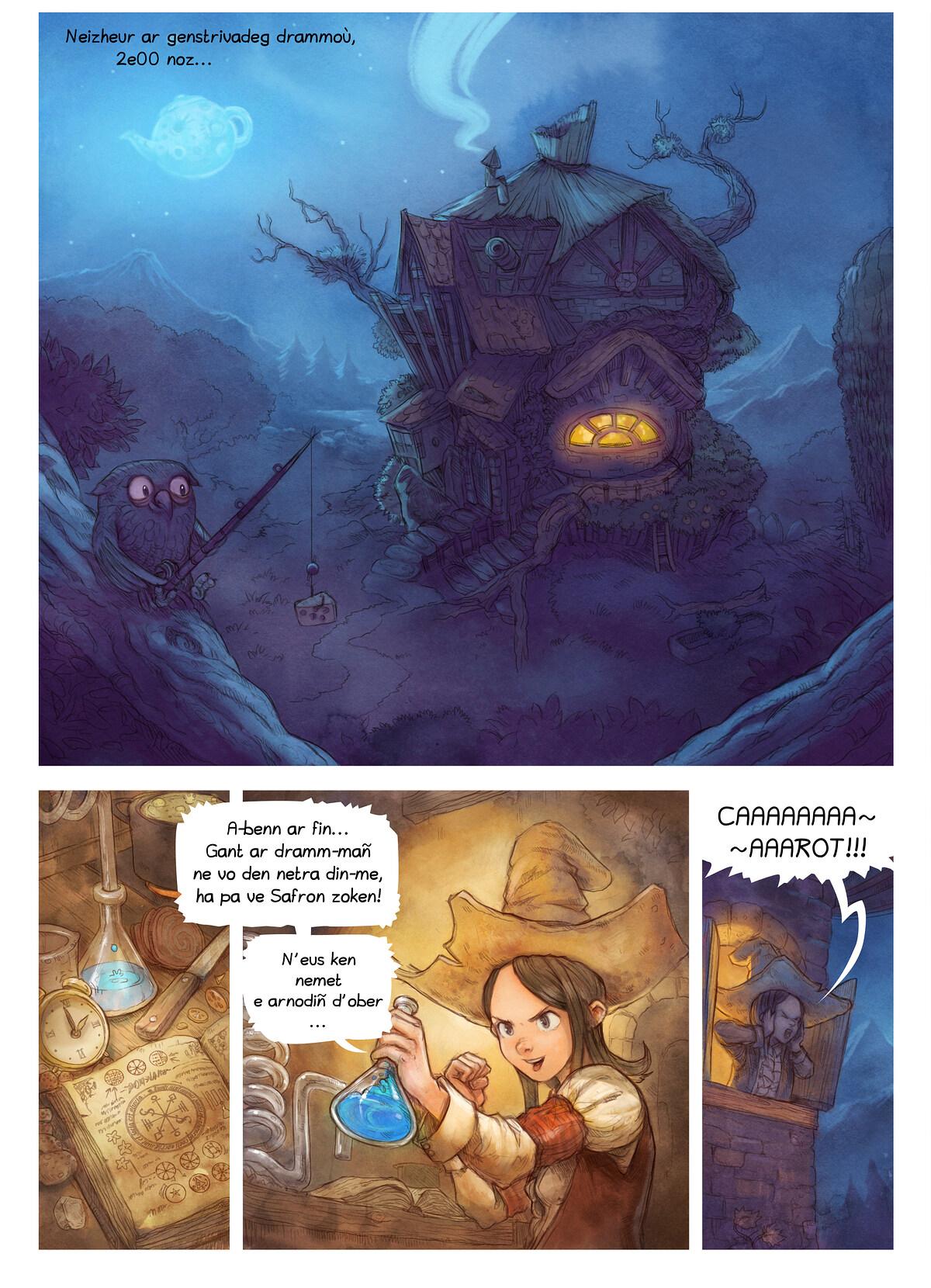 A webcomic page of Pepper&Carrot, rann 4 [br], pajenn 1
