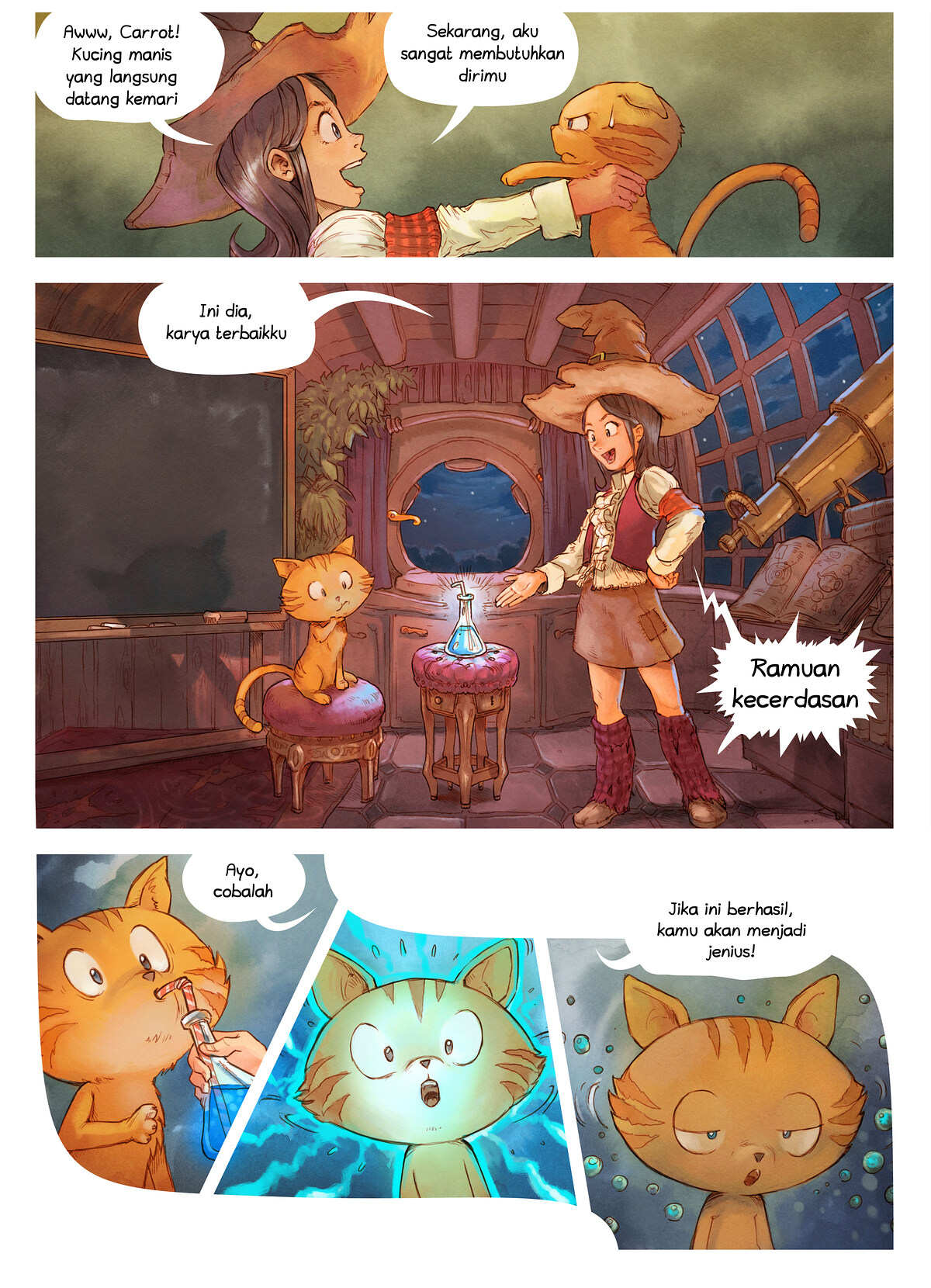 A webcomic page of Pepper&Carrot, episode 4 [id], halaman 3
