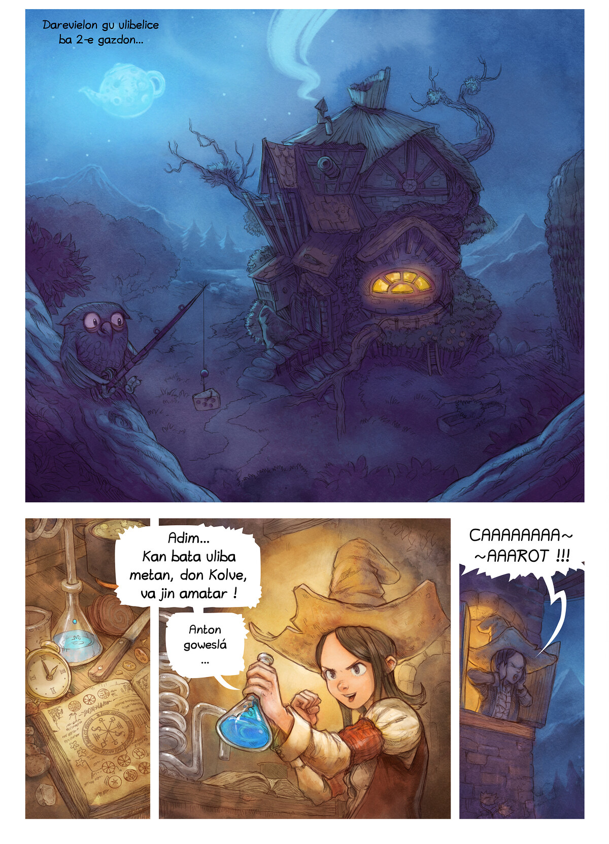 A webcomic page of Pepper&Carrot, episode 4 [kt], page 1