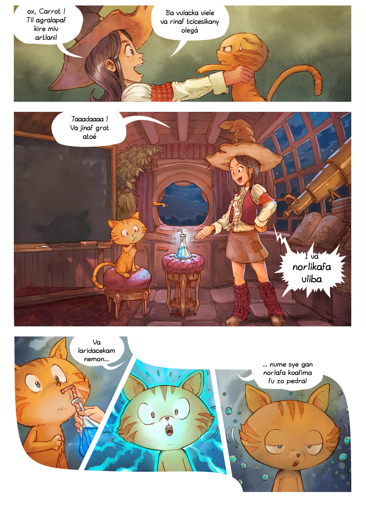 A webcomic page of Pepper&Carrot, episode 4 [kt], page 3