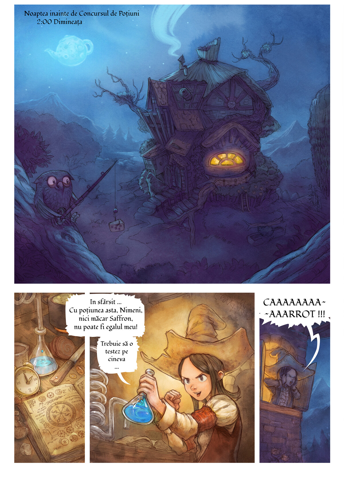 A webcomic page of Pepper&Carrot, episode 4 [ro], page 1