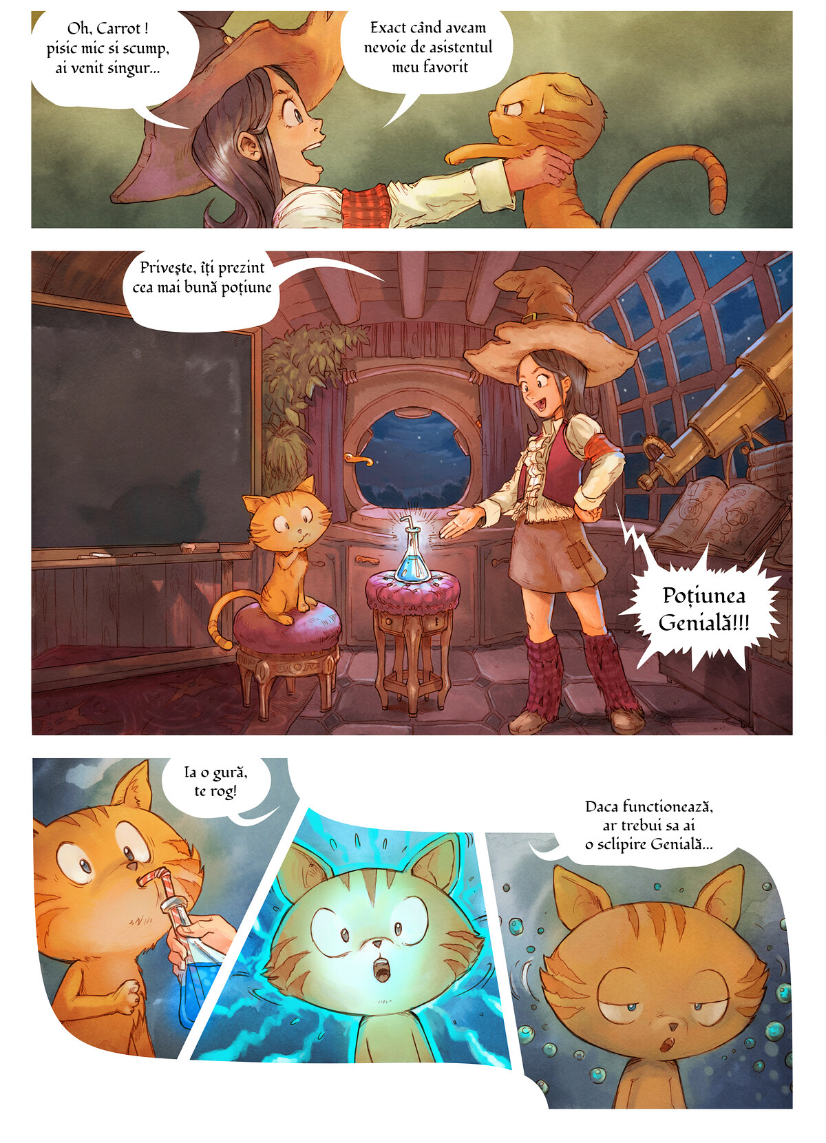 A webcomic page of Pepper&Carrot, episode 4 [ro], page 3