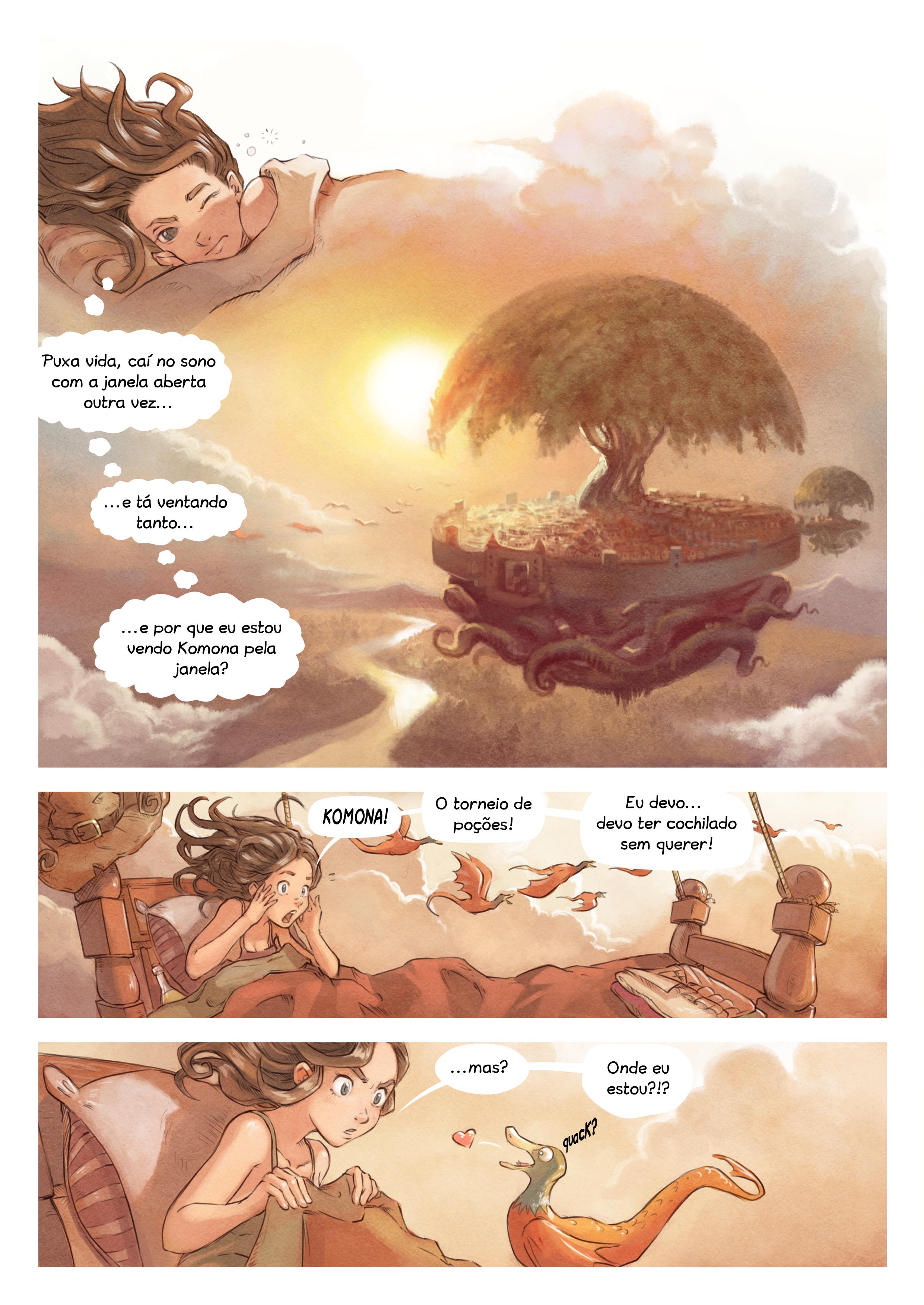 A webcomic page of Pepper&Carrot, episódio 6 [pt], página 1