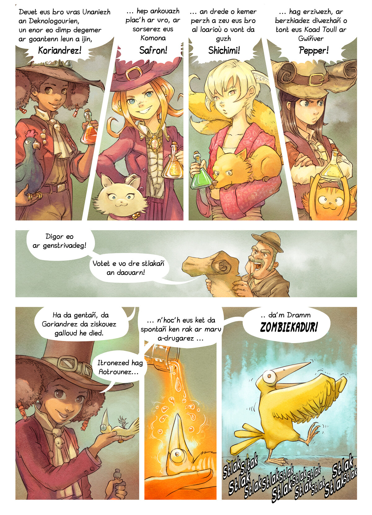 A webcomic page of Pepper&Carrot, rann 6 [br], pajenn 4