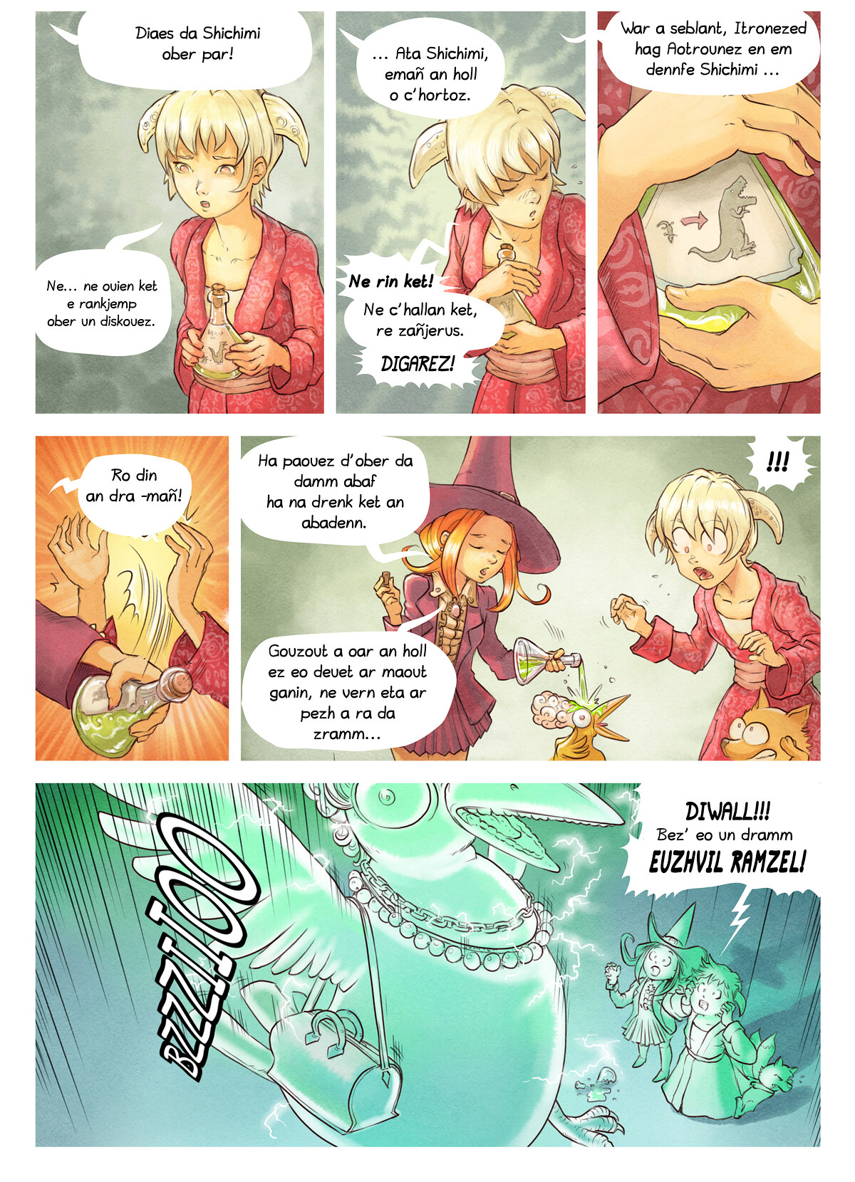 A webcomic page of Pepper&Carrot, rann 6 [br], pajenn 6
