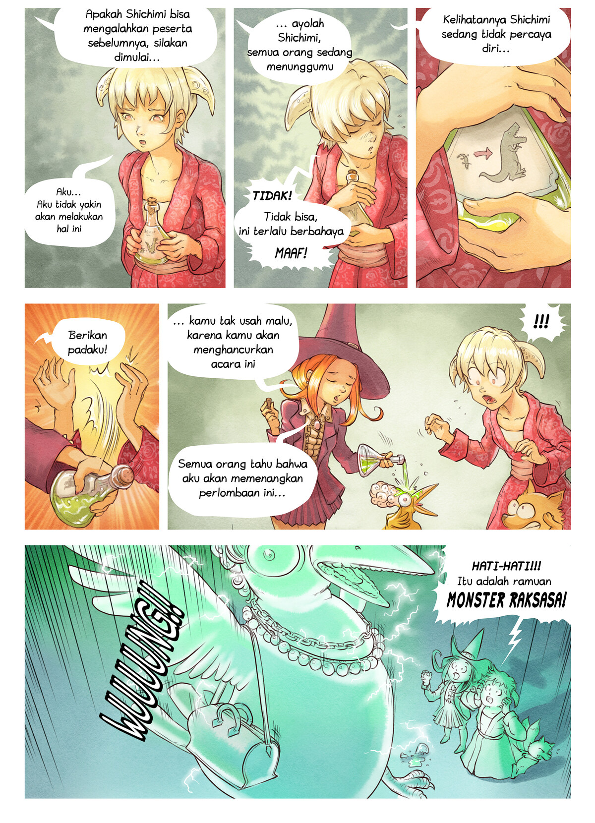 A webcomic page of Pepper&Carrot, episode 6 [id], halaman 6