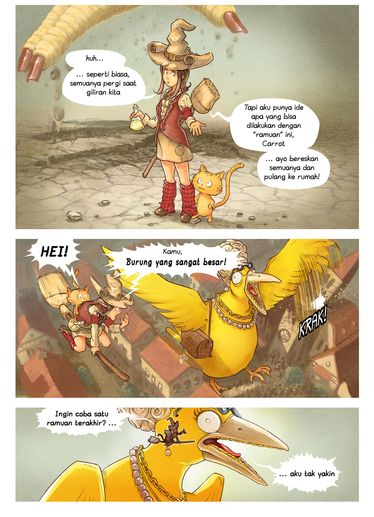 A webcomic page of Pepper&Carrot, episode 6 [id], halaman 8