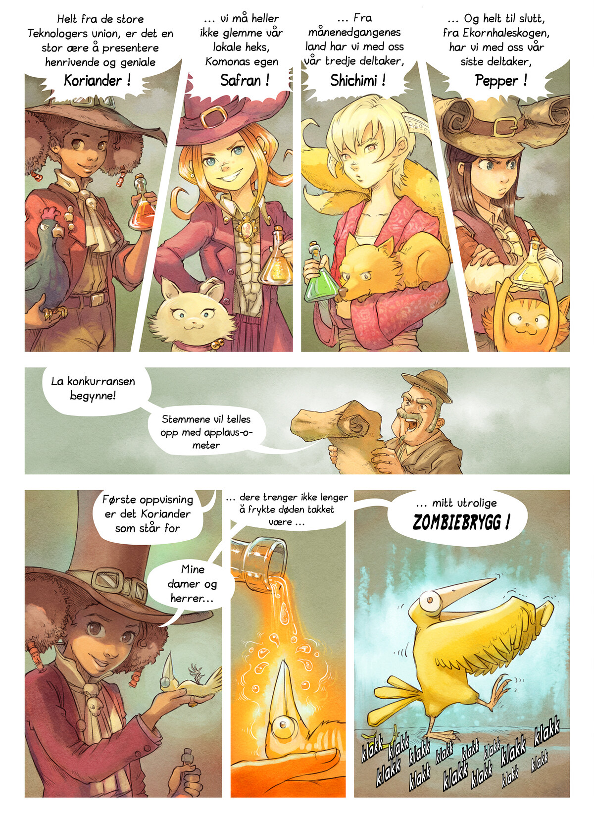 A webcomic page of Pepper&Carrot, episode 6 [no], side 4