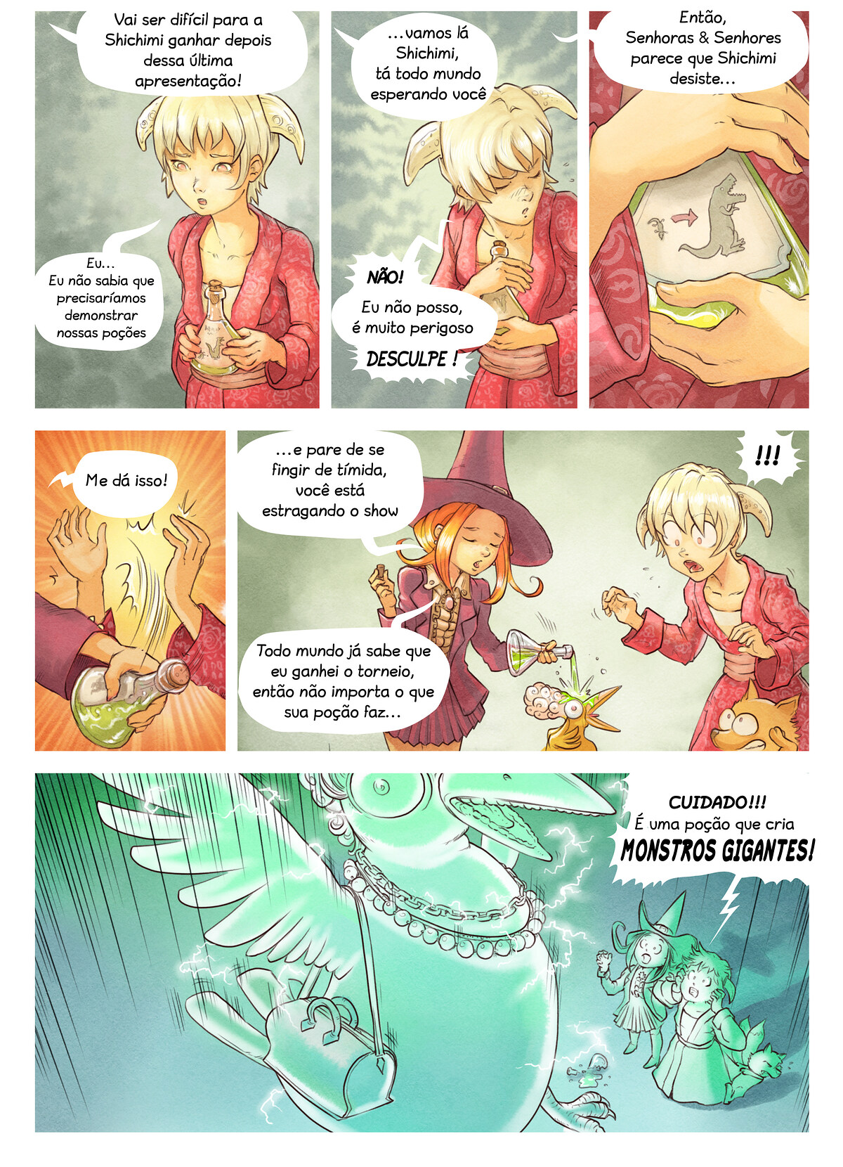 A webcomic page of Pepper&Carrot, episódio 6 [pt], página 6