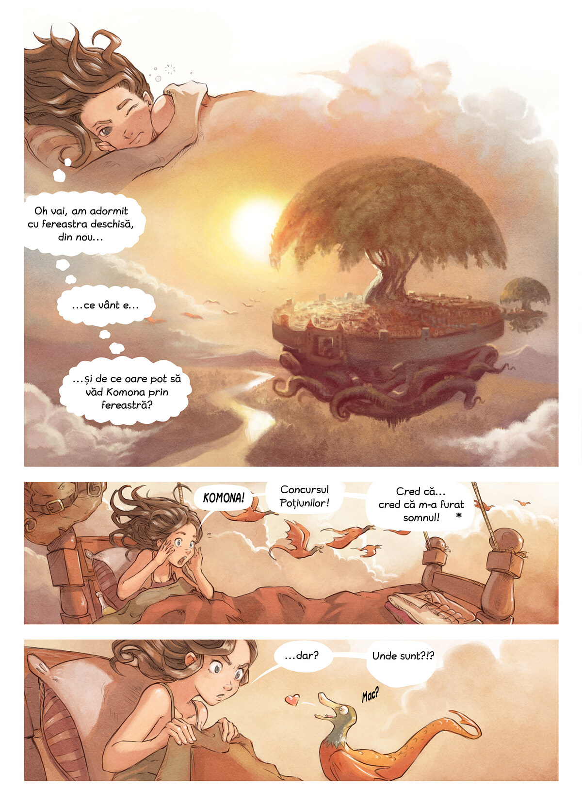 A webcomic page of Pepper&Carrot, episod 6 [ro], pagină 1