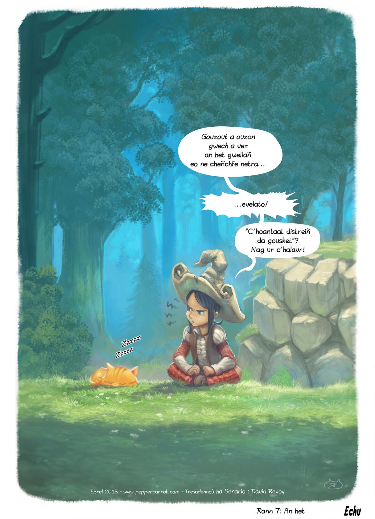 A webcomic page of Pepper&Carrot, rann 7 [br], pajenn 5