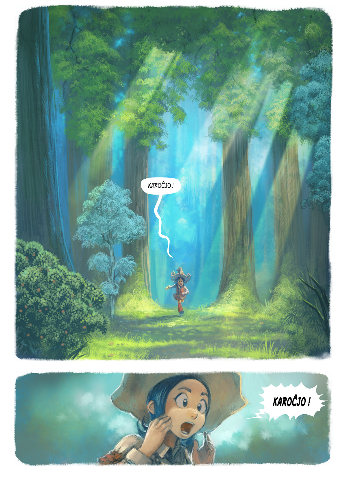 A webcomic page of Pepper&Carrot, rakonto 7 [eo], paĝo 1