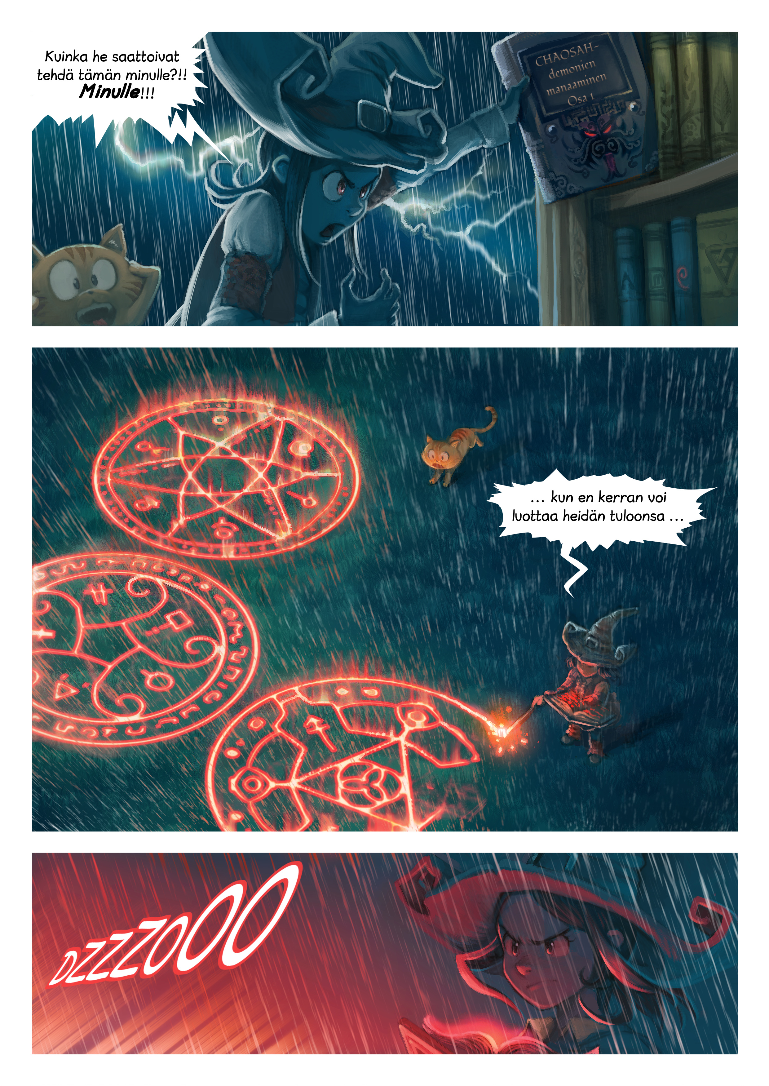 A webcomic page of Pepper&Carrot, episode 8 [fi], page 5