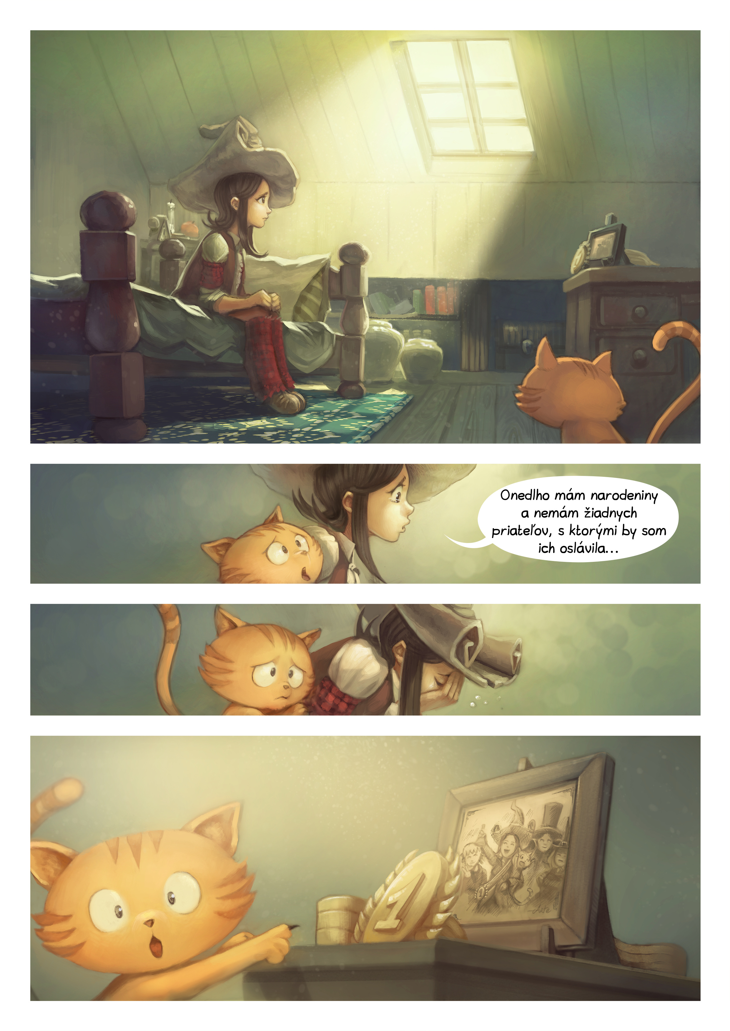 A webcomic page of Pepper&Carrot, episode 8 [sk], page 1