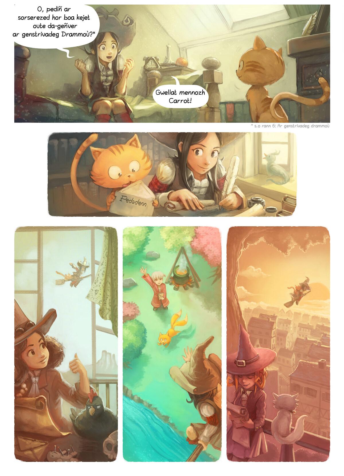 A webcomic page of Pepper&Carrot, rann 8 [br], pajenn 2