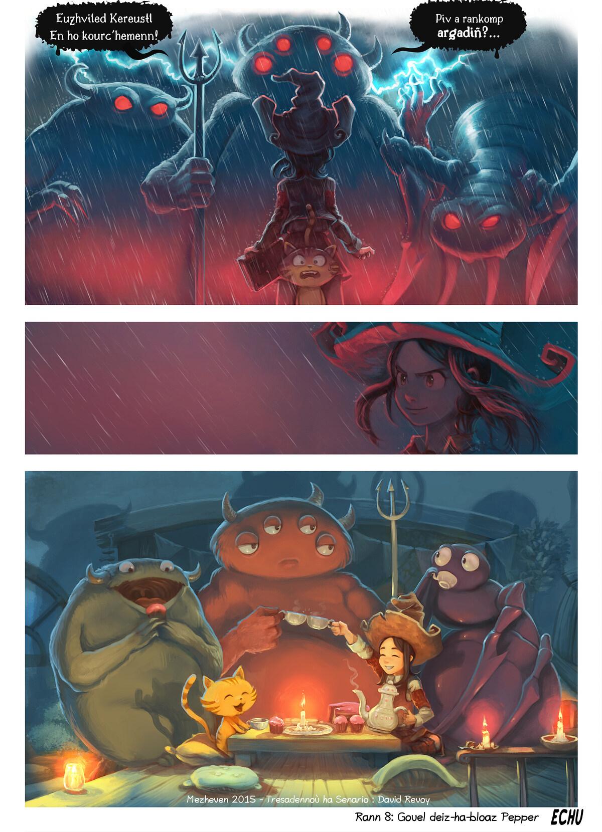 A webcomic page of Pepper&Carrot, rann 8 [br], pajenn 6