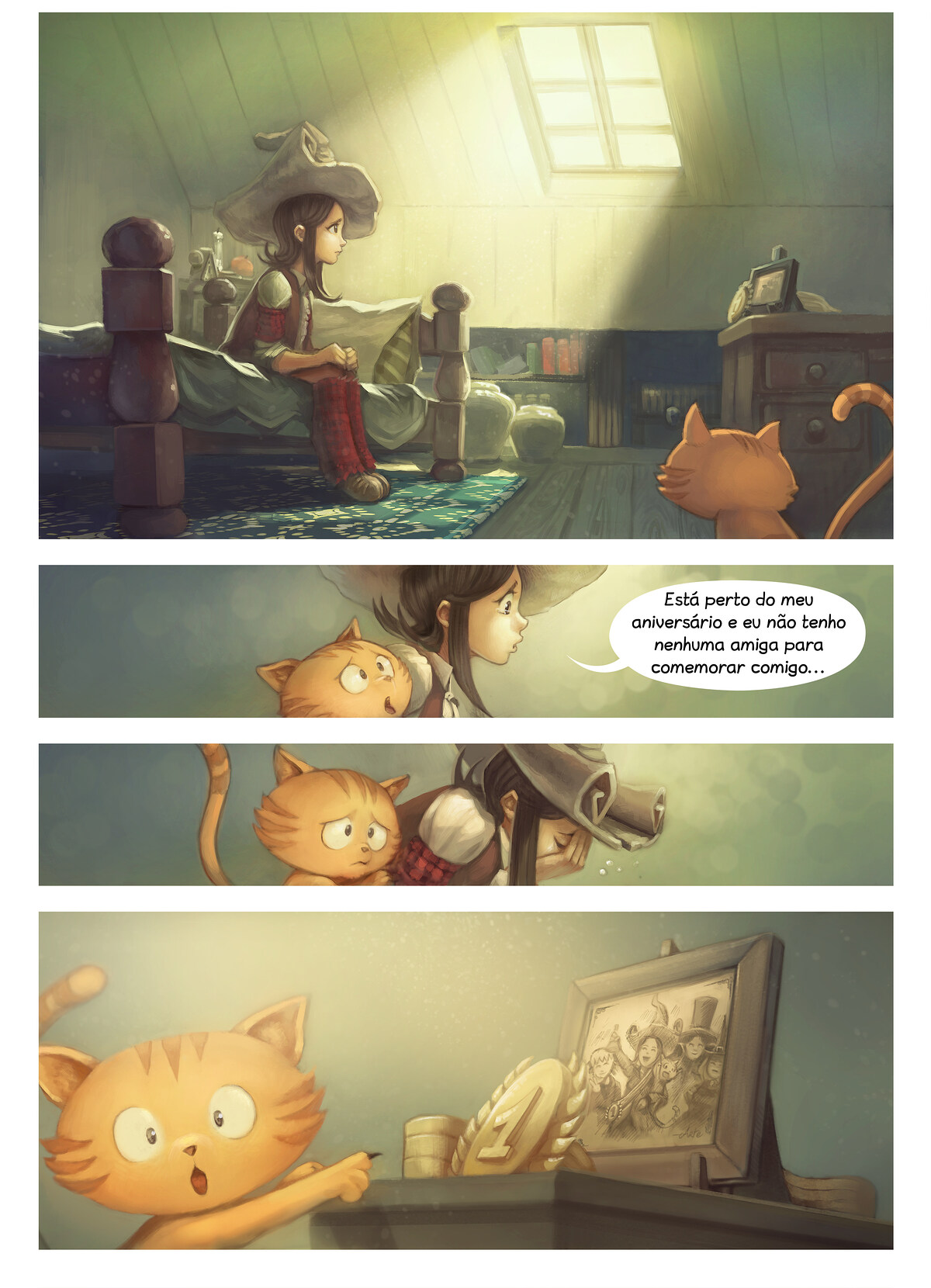 A webcomic page of Pepper&Carrot, episódio 8 [pt], página 1