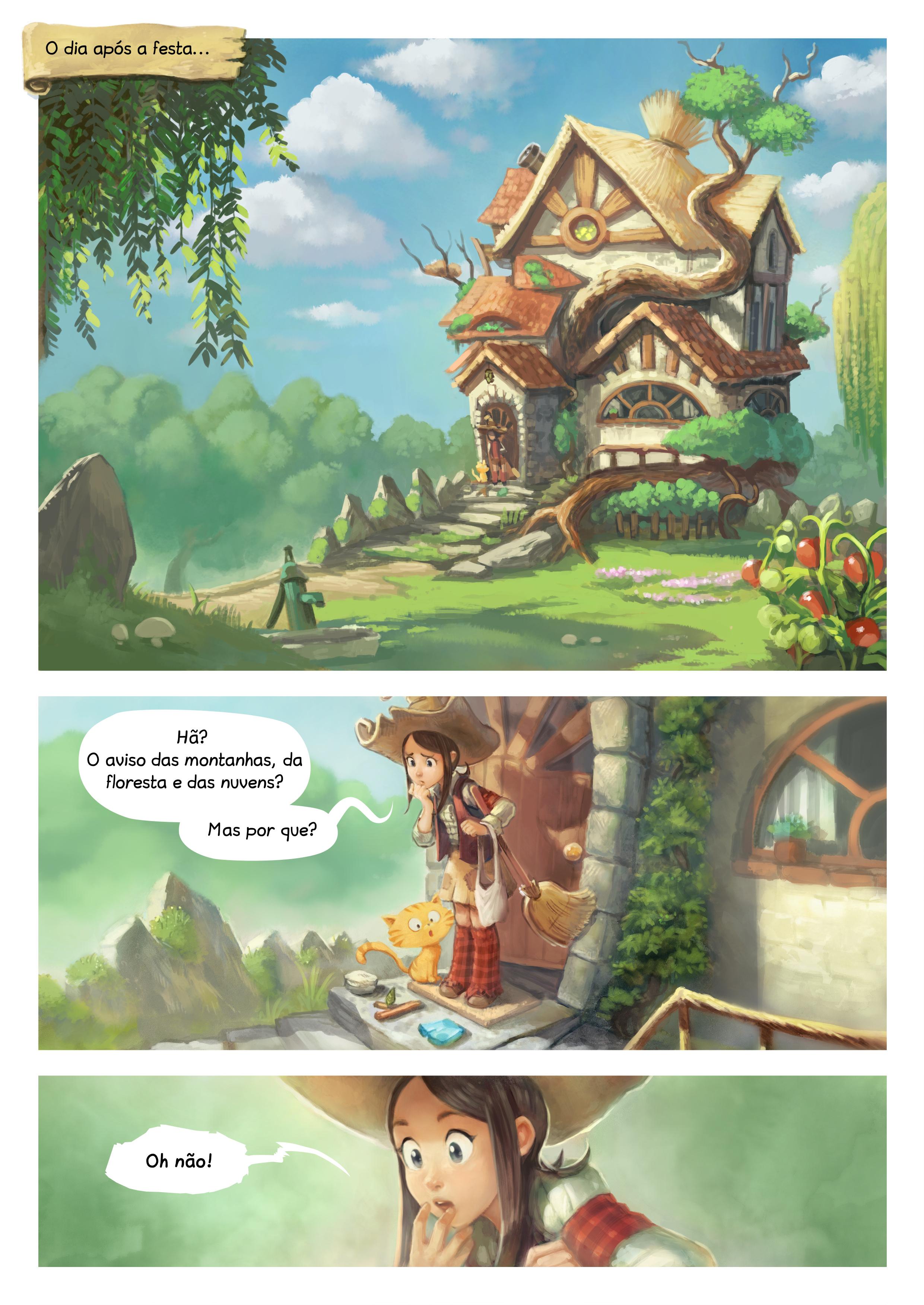 A webcomic page of Pepper&Carrot, episódio 9 [pt], página 1