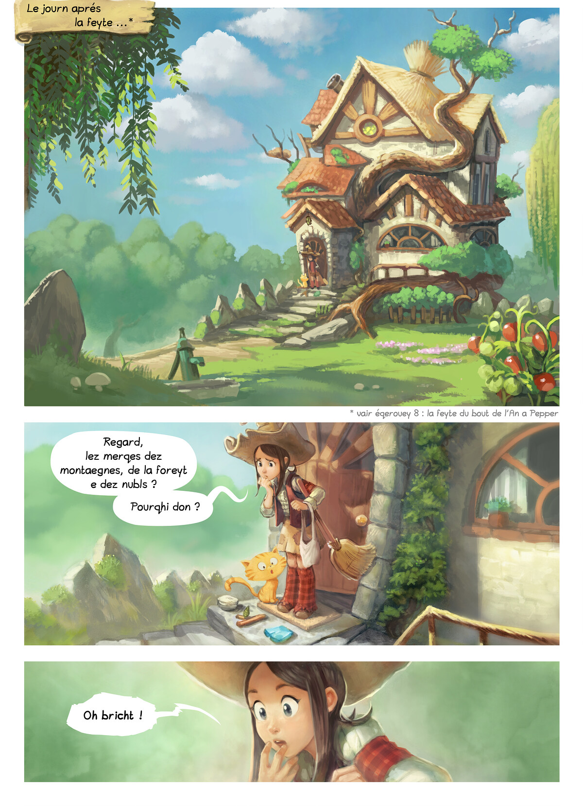 A webcomic page of Pepper&Carrot, episode 9 [go], page 1