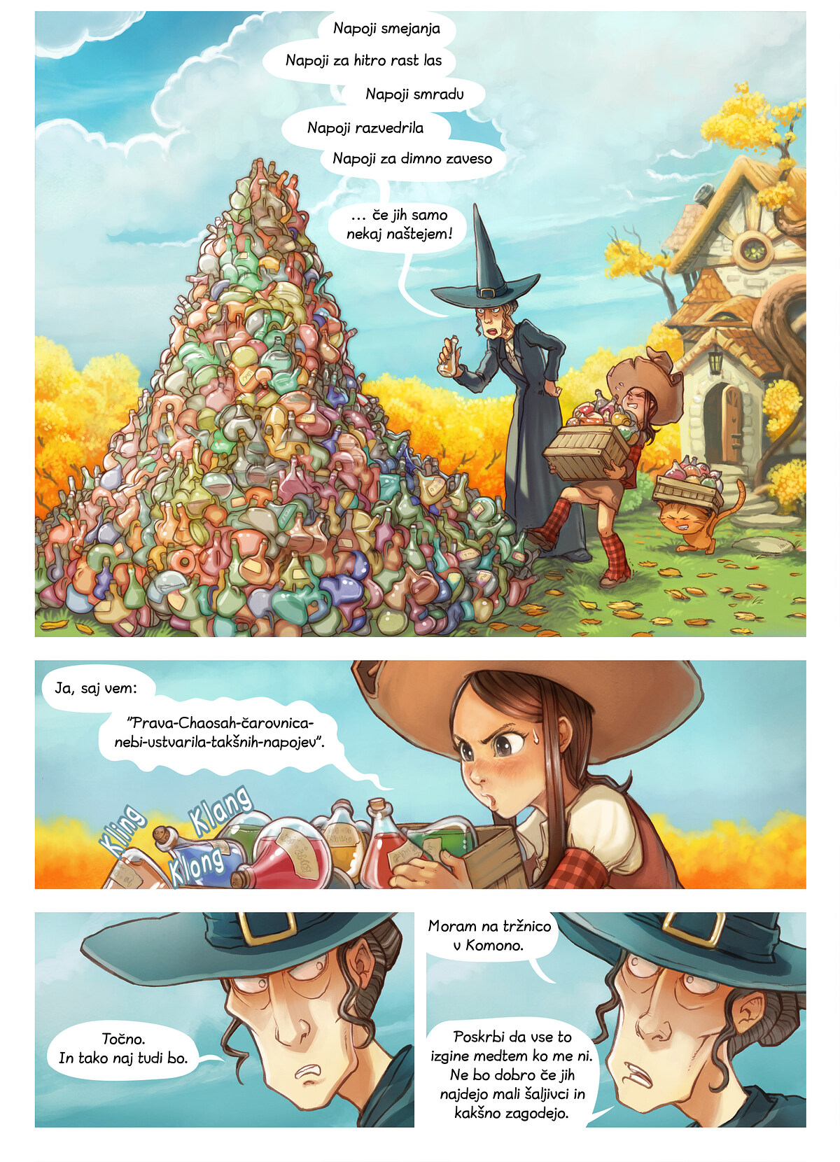 A webcomic page of Pepper&Carrot, epizoda 12 [sl], stran 1