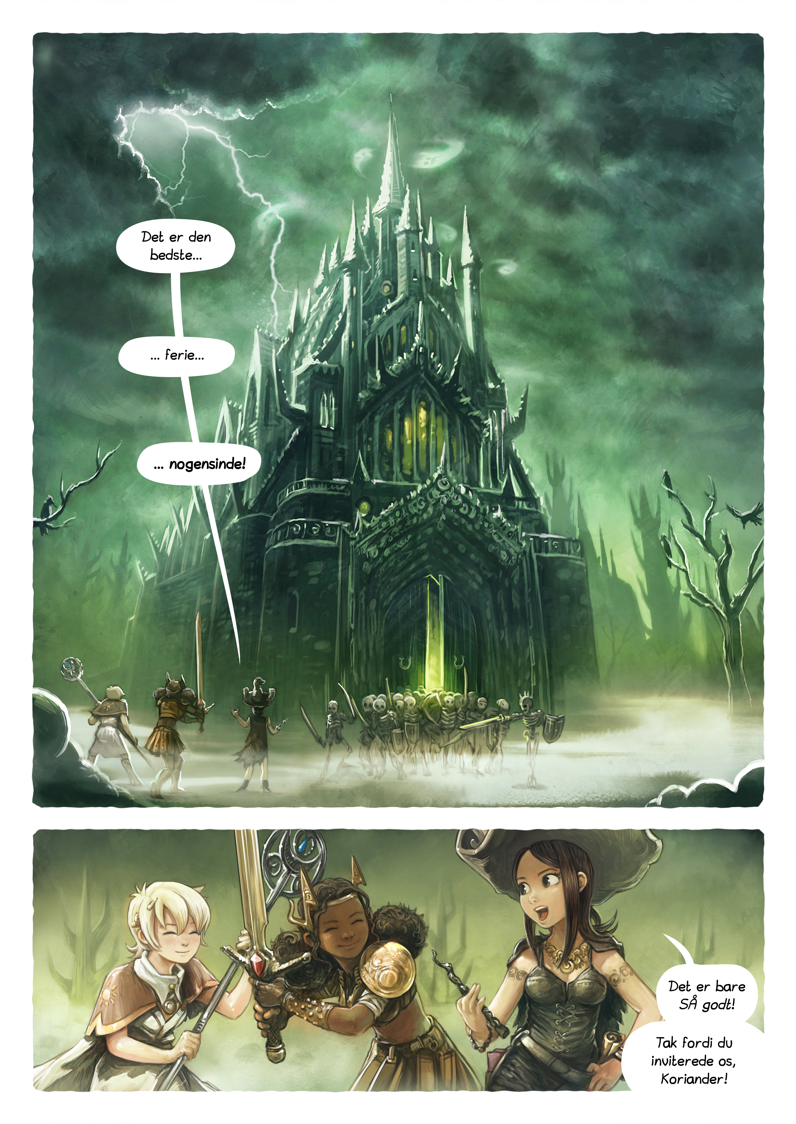 A webcomic page of Pepper&Carrot, episode 13 [da], page 1