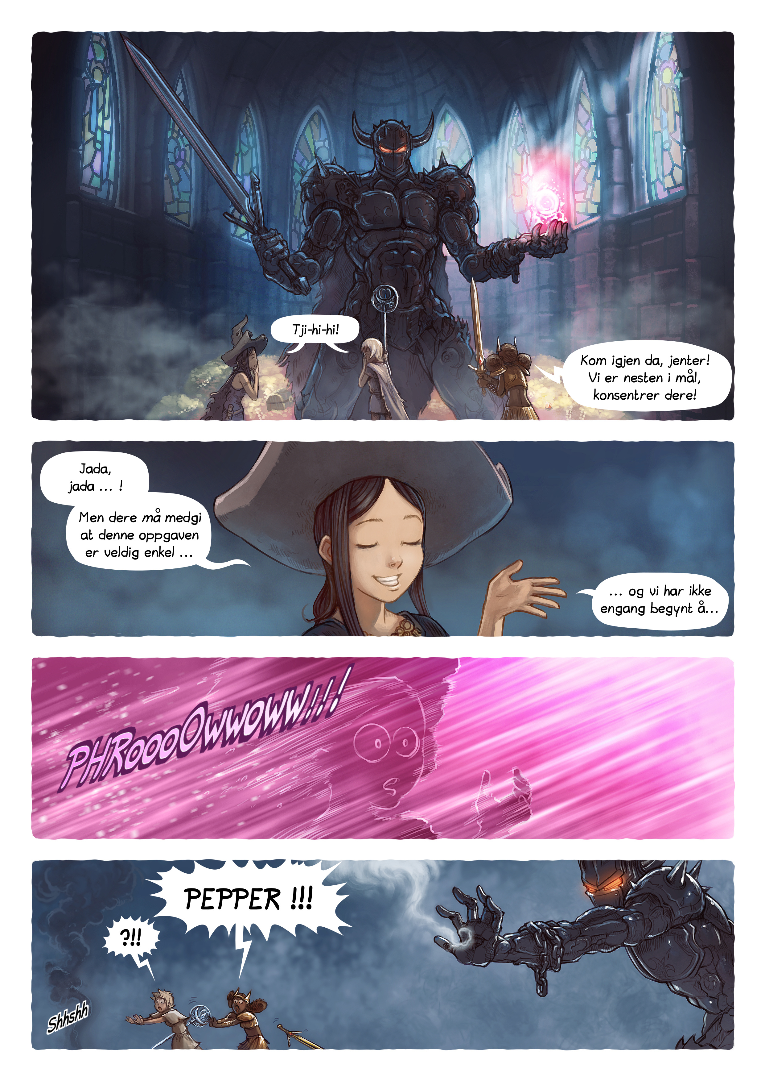 A webcomic page of Pepper&Carrot, episode 13 [no], side 4