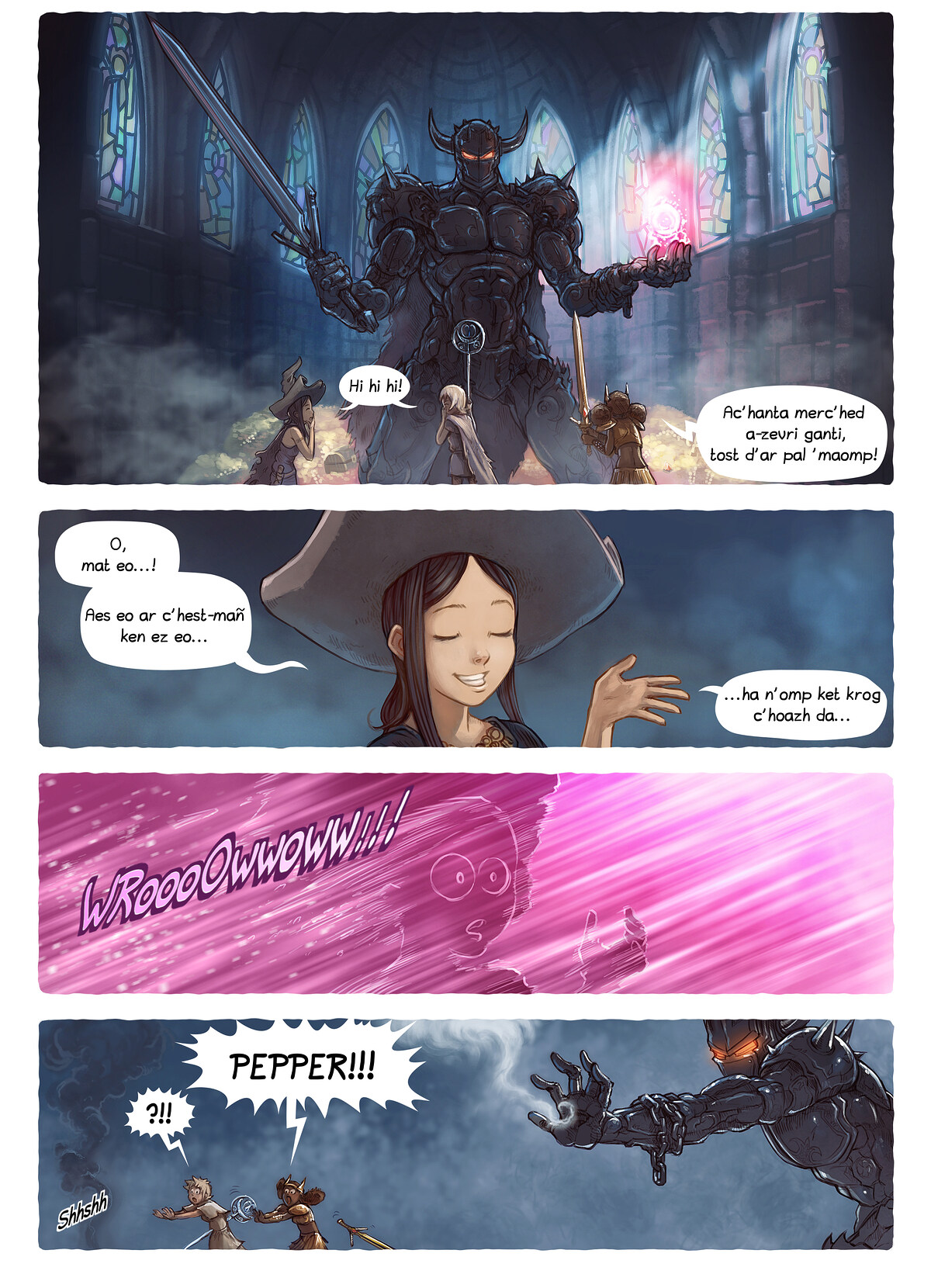 A webcomic page of Pepper&Carrot, rann 13 [br], pajenn 4