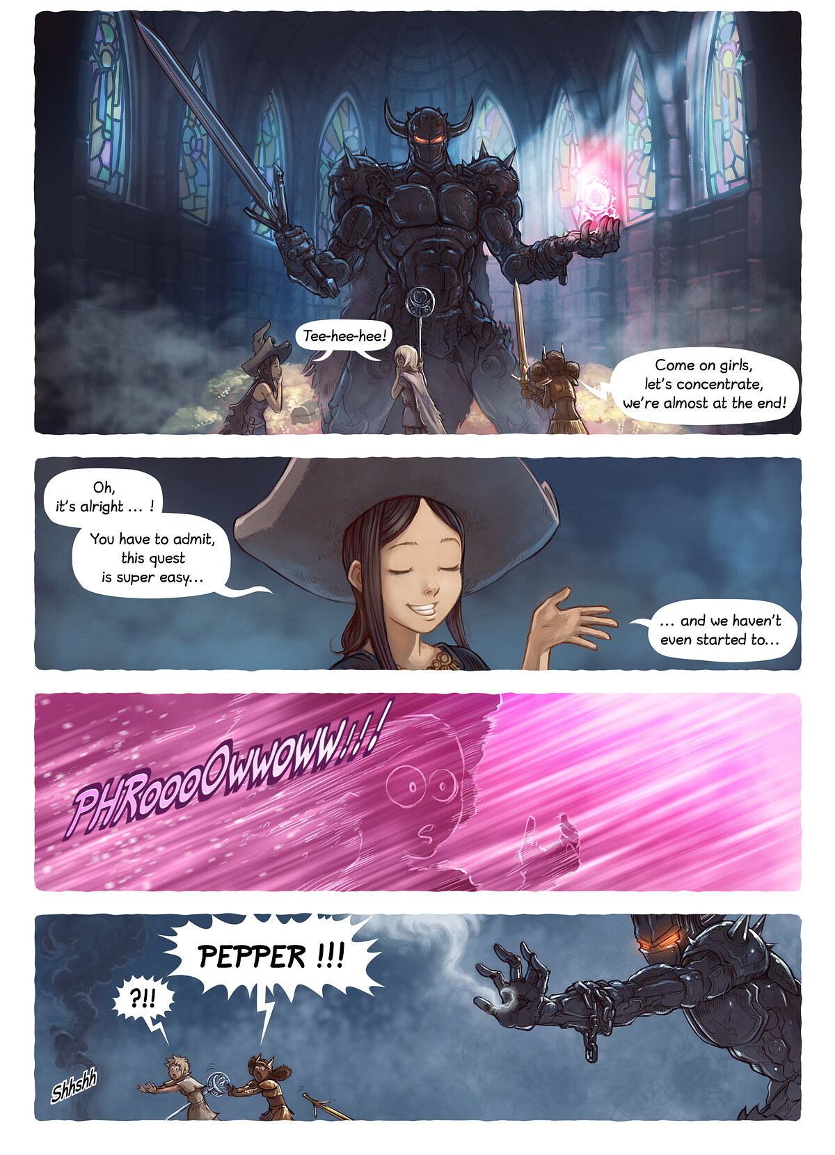 A webcomic page of Pepper&Carrot, episode 13 [si], page 4