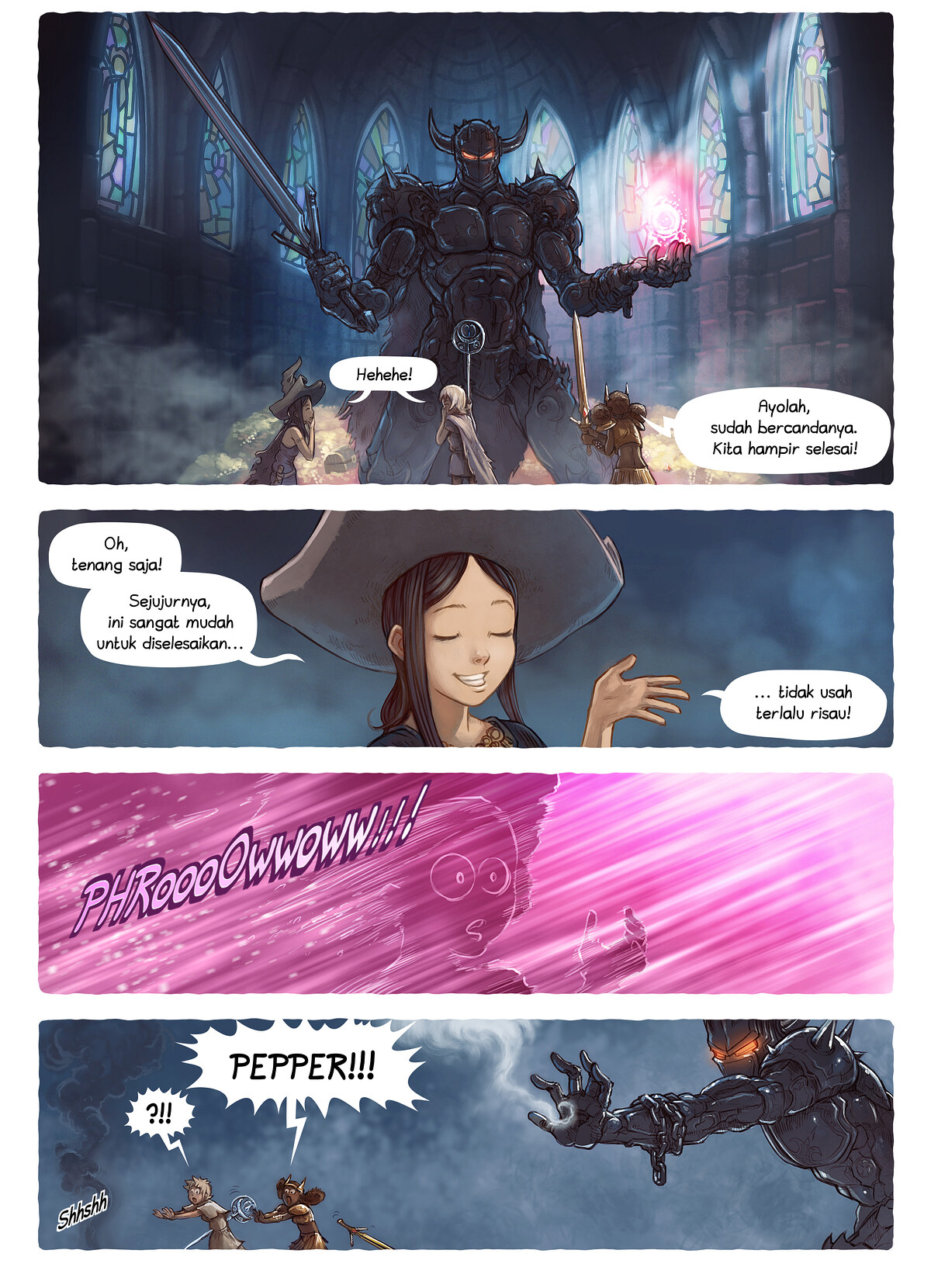A webcomic page of Pepper&Carrot, episode 13 [id], halaman 4