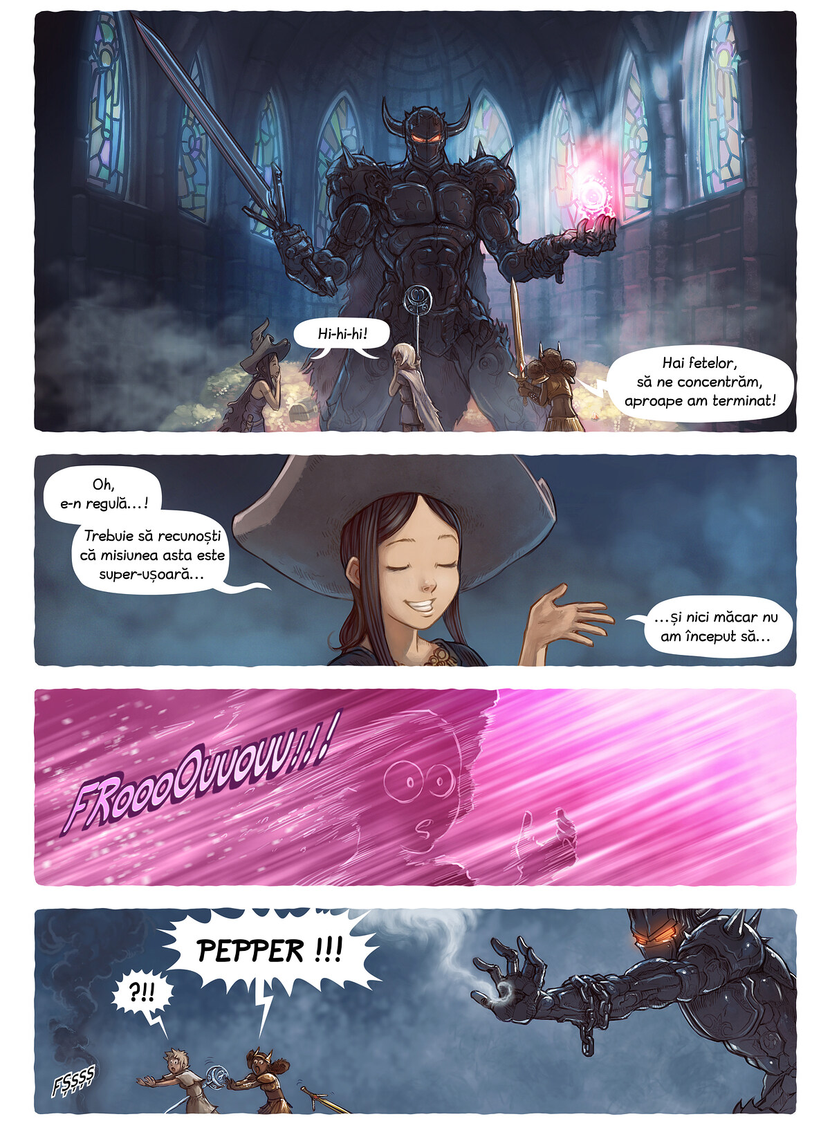 A webcomic page of Pepper&Carrot, episode 13 [ro], page 4