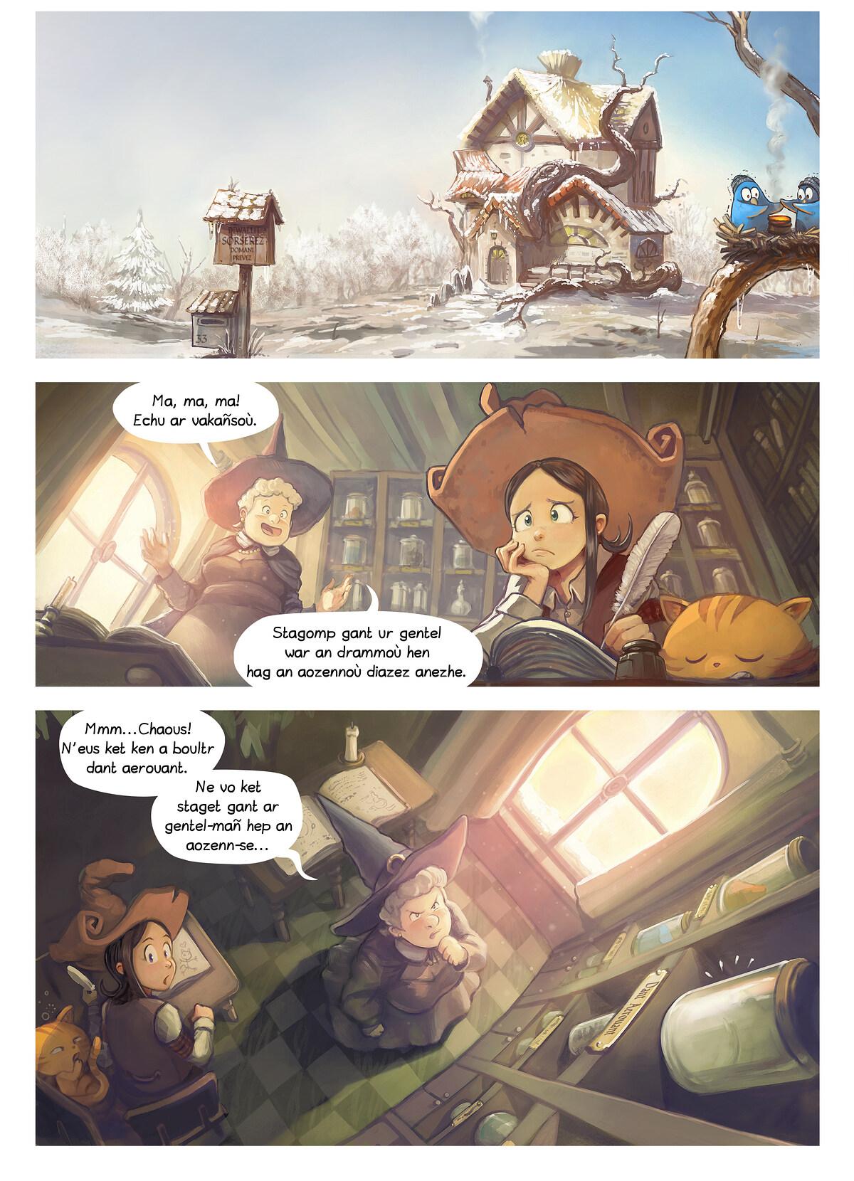 A webcomic page of Pepper&Carrot, rann 14 [br], pajenn 1