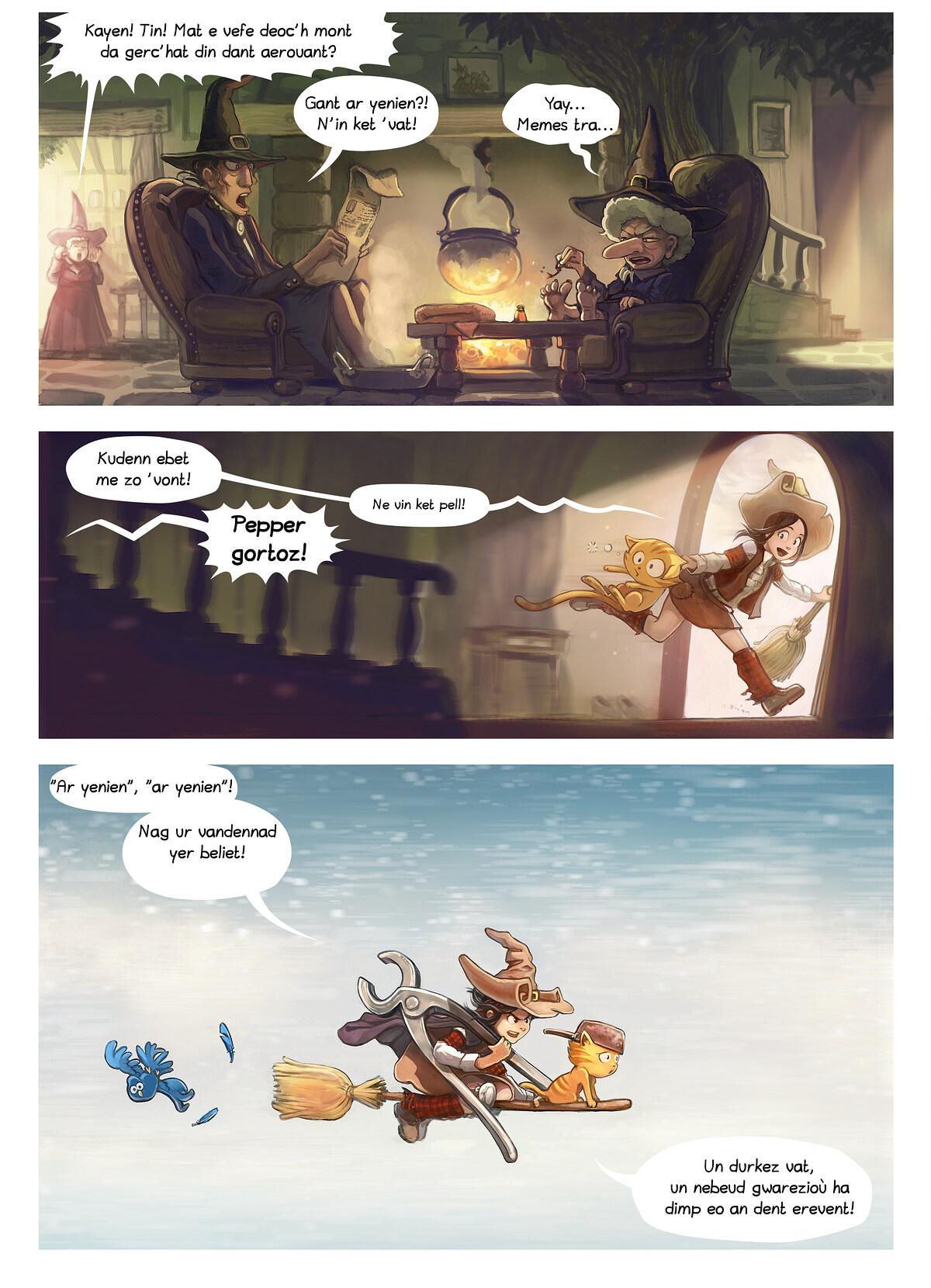 A webcomic page of Pepper&Carrot, rann 14 [br], pajenn 2