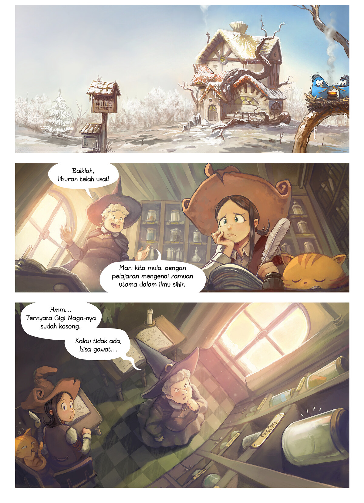 A webcomic page of Pepper&Carrot, episode 14 [id], halaman 1