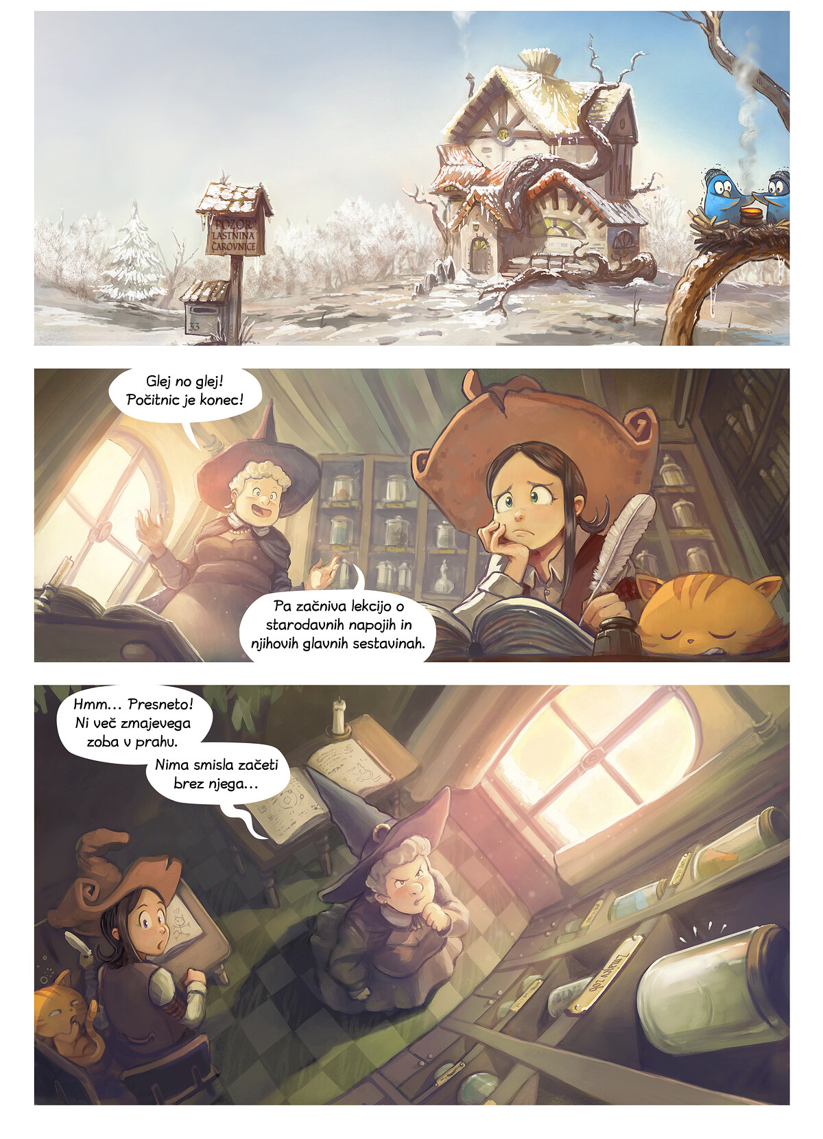 A webcomic page of Pepper&Carrot, epizoda 14 [sl], stran 1