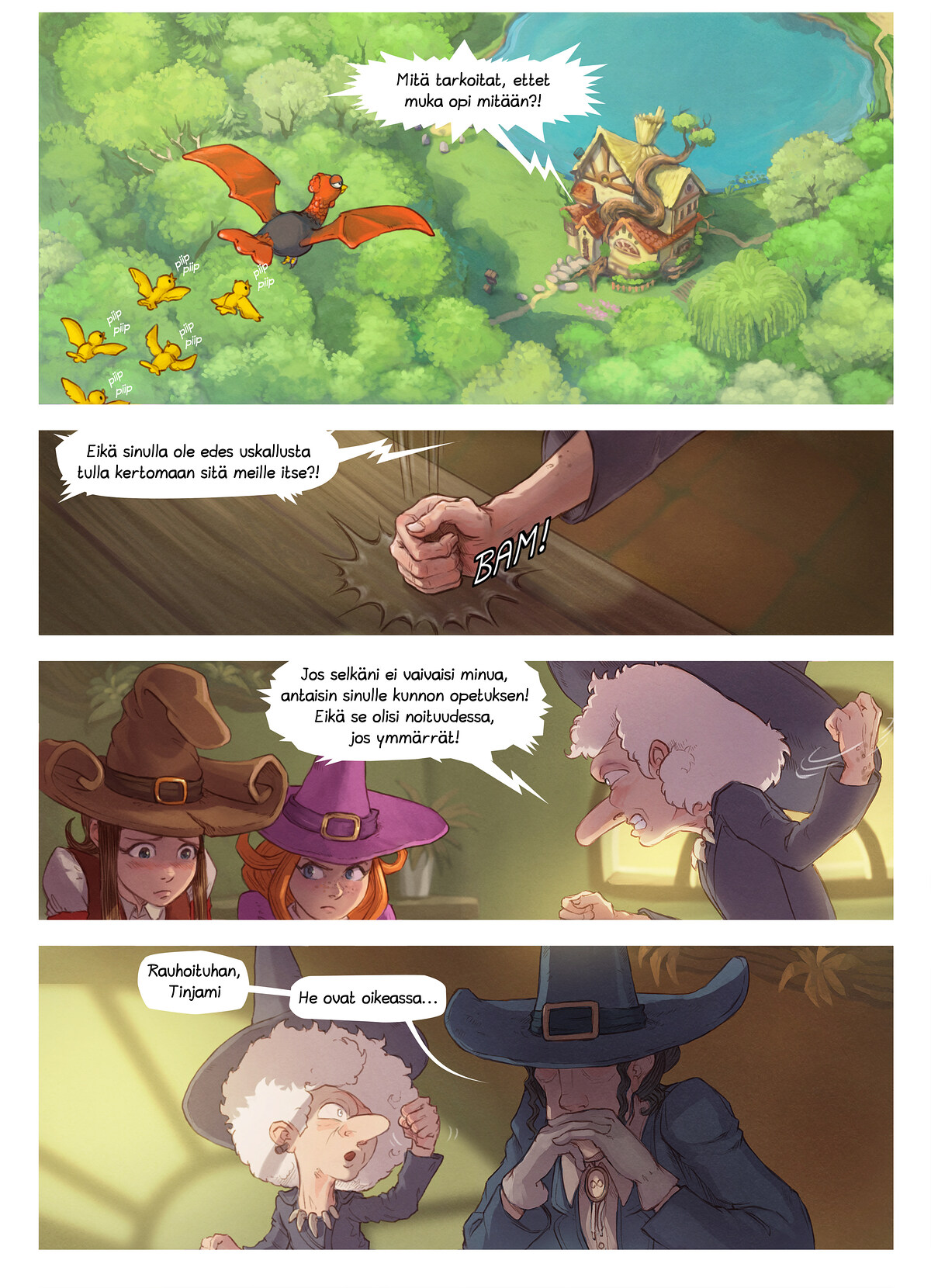 A webcomic page of Pepper&Carrot, episode 16 [fi], page 3